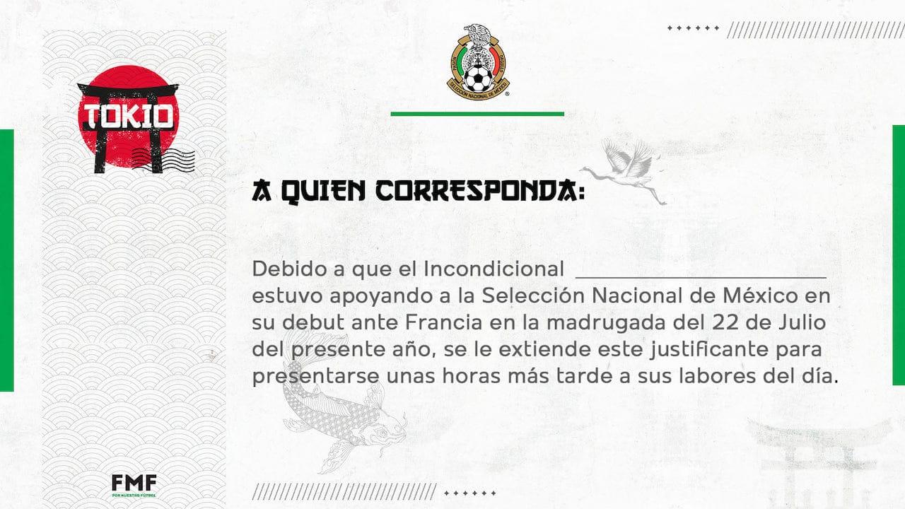 Selección Mexicana viraliza justificante para desvelados por juego contra Francia