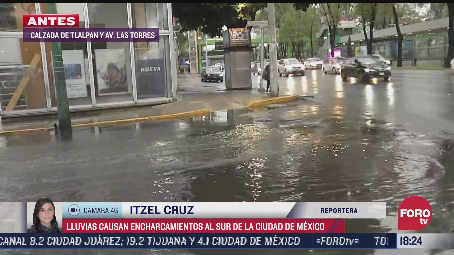 lluvias dejan encharcamientos al sur de cdmx