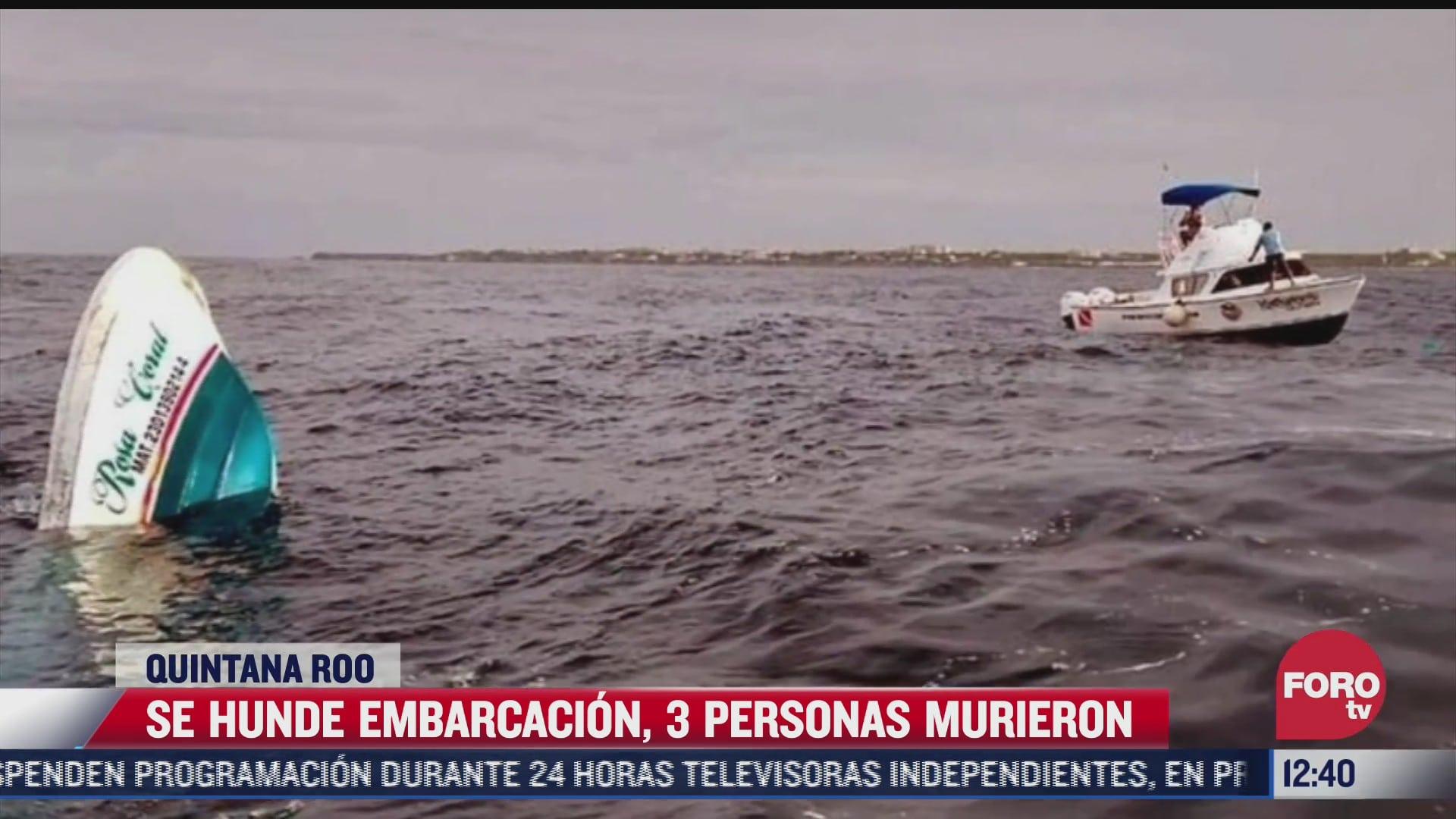 mueren tres personas tras hundimiento de embarcacion en quintana roo