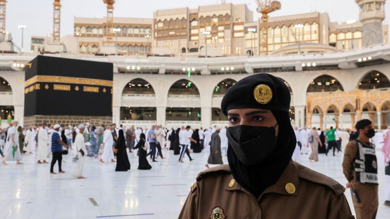 Mujeres sauditas montan guardia en La Meca durante el Haj. (