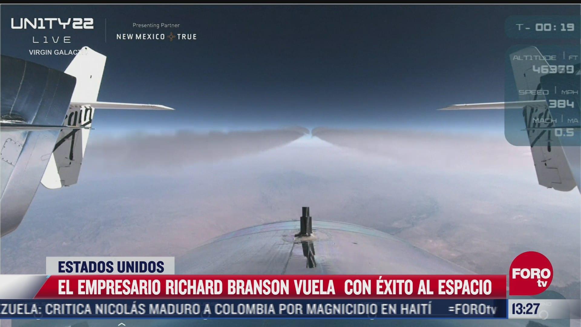 nave del empresario richard branson logra volar al espacio