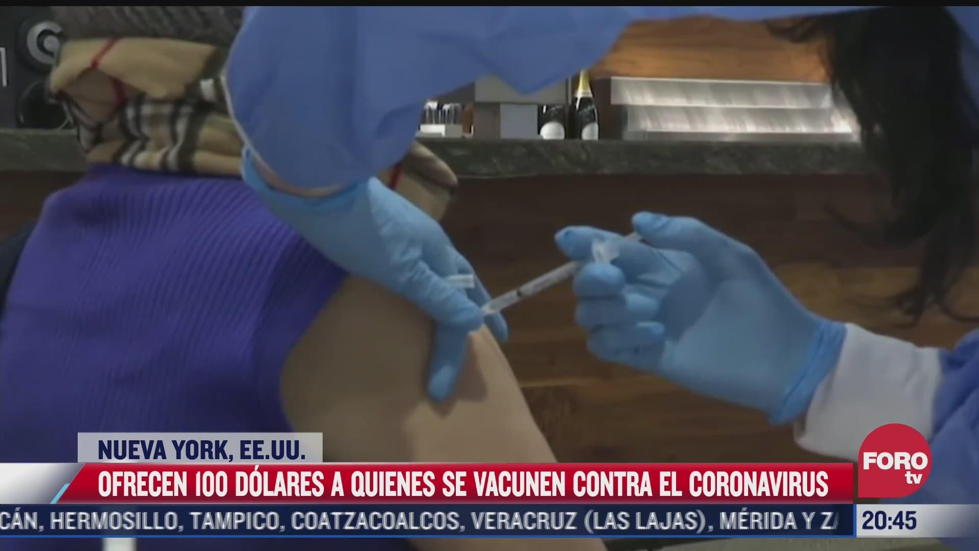 ofrecen 100 dolares a quienes se vacunen contra covid