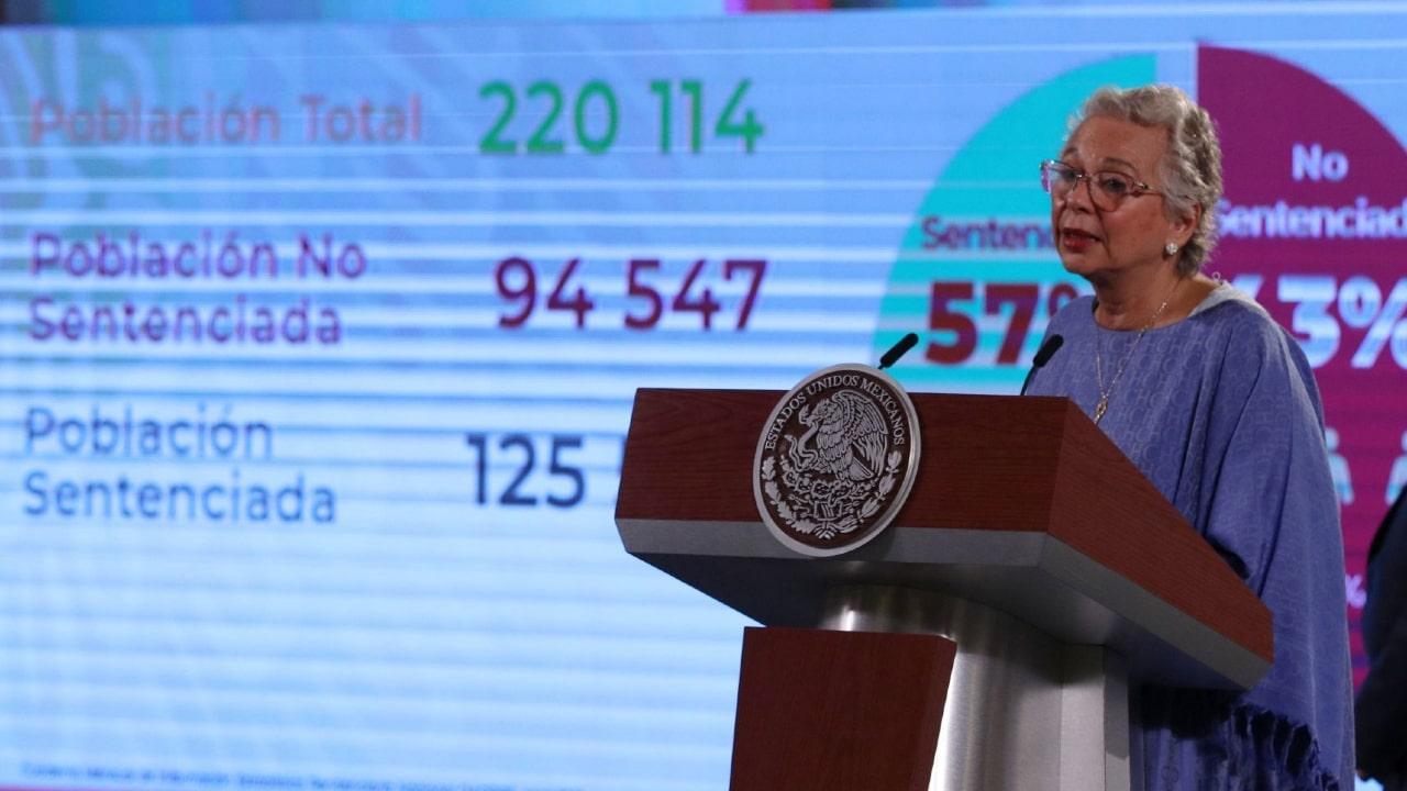 Olga Sánchez Cordero, secretaria de Gobernación durante conferencia de prensa