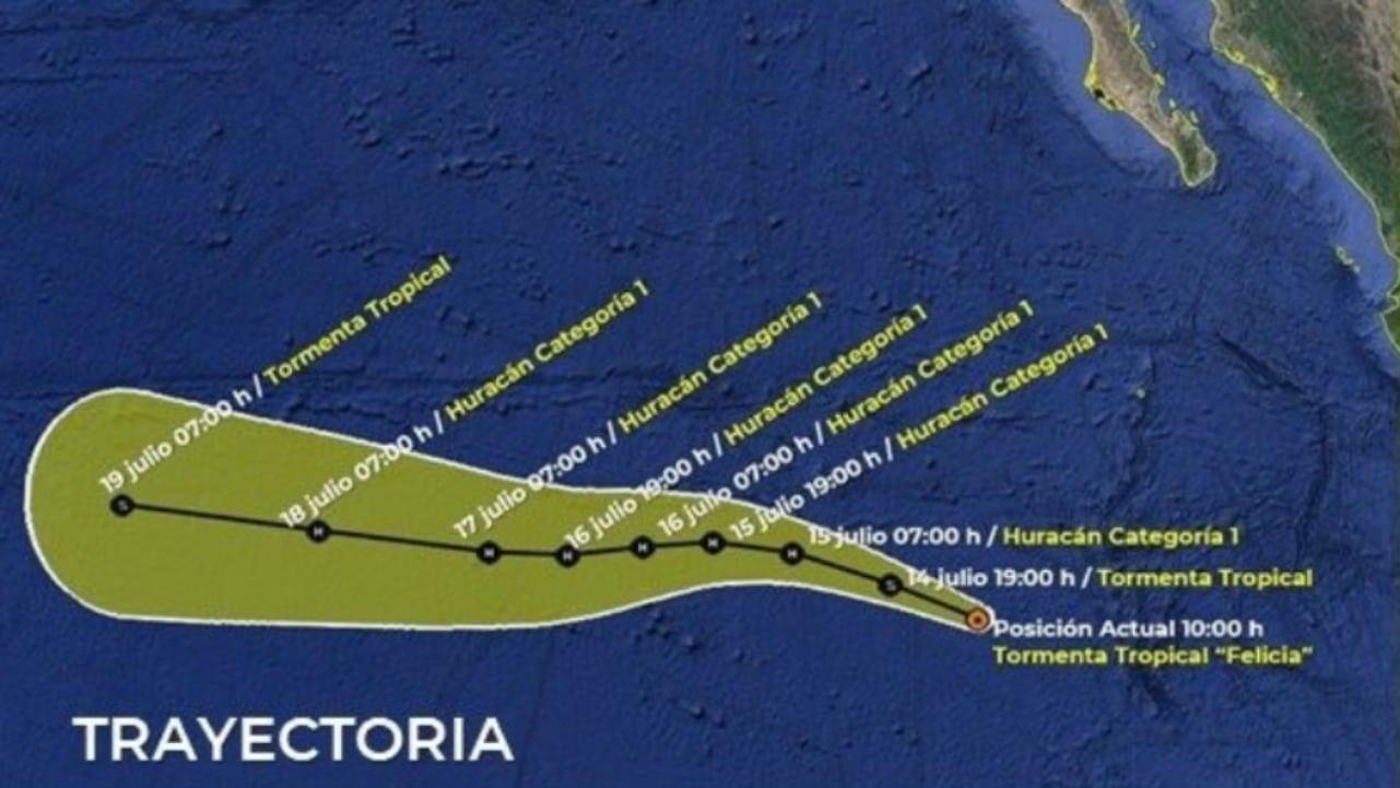 Se forma la tormenta tropical Felicia en el Pacífico mexicano