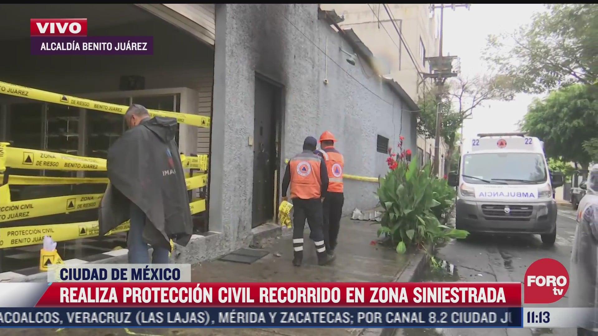 proteccion civil realiza recorrido en fabrica que se incendio en san simon ticumac cdmx