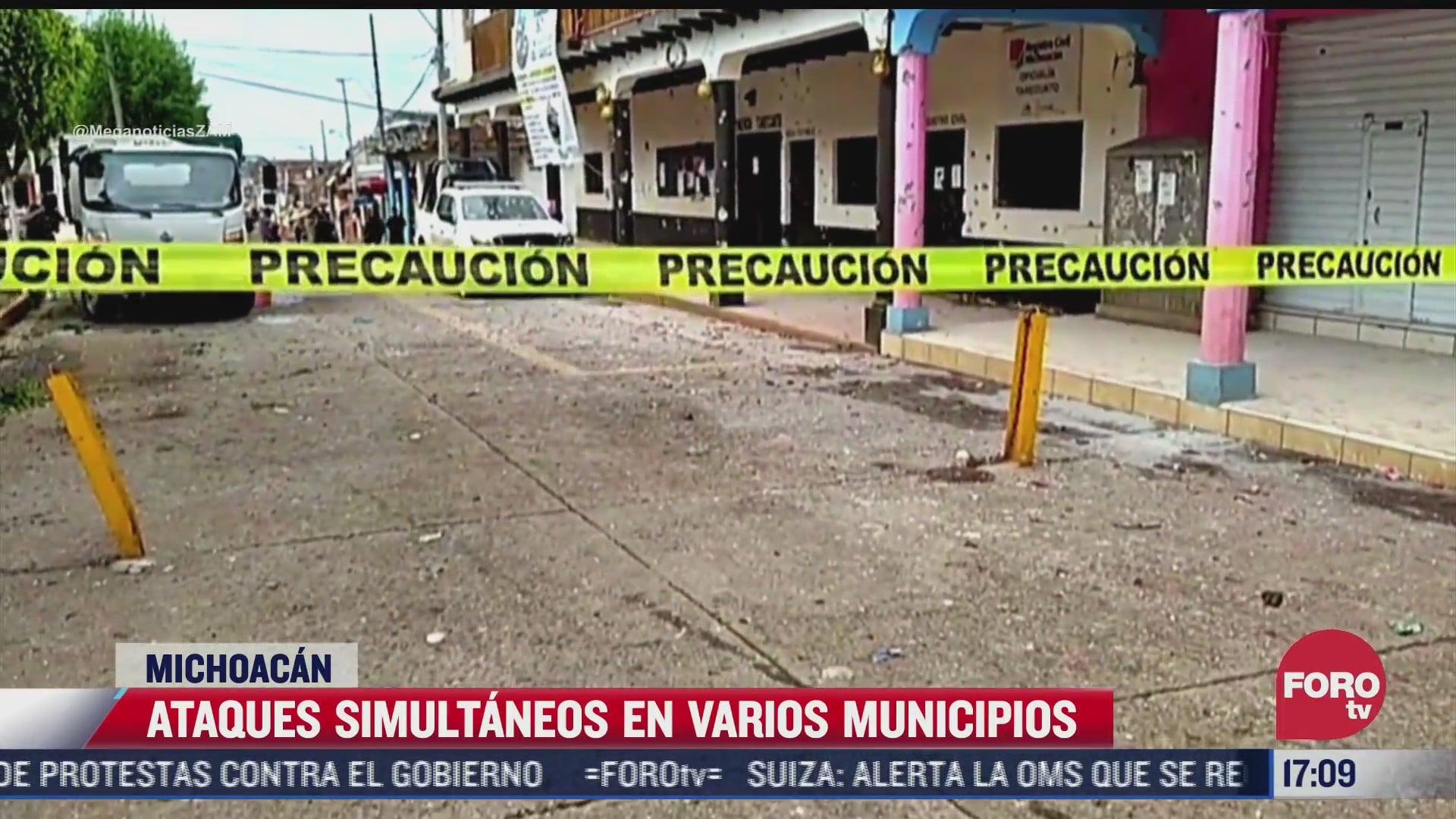 realizan ataques simultaneos en varios municipios de michoacan