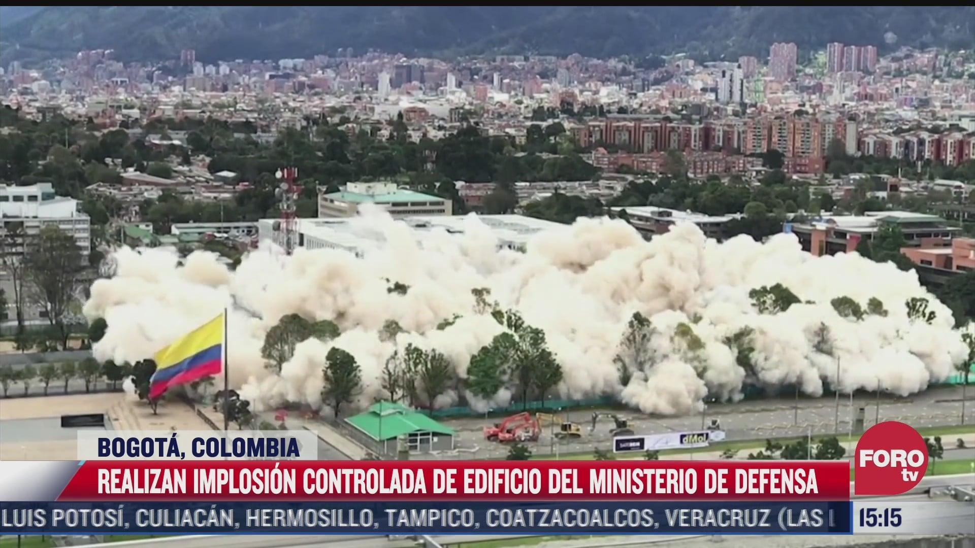 realizan explosion controlada en edificio de ministerio de defensa en colombia