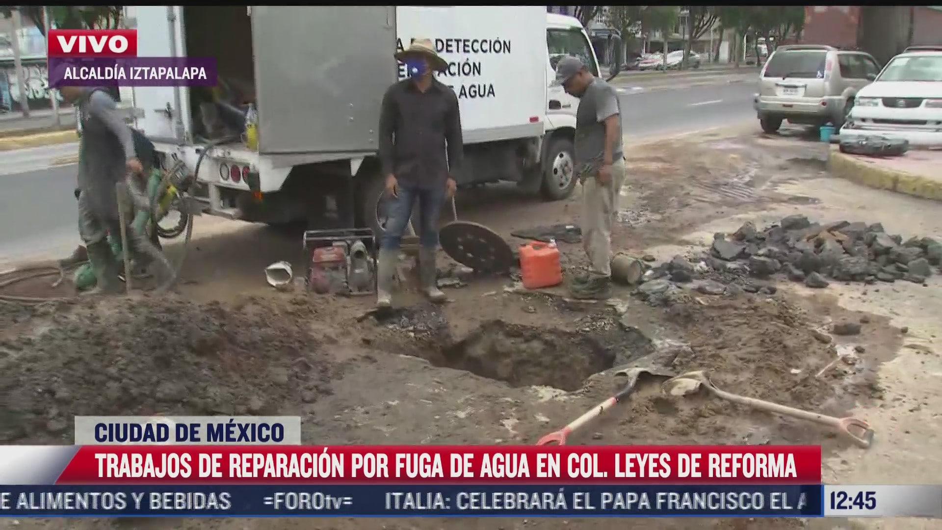 reparan fuga de agua en colonia reyes de reforma iztapalapa