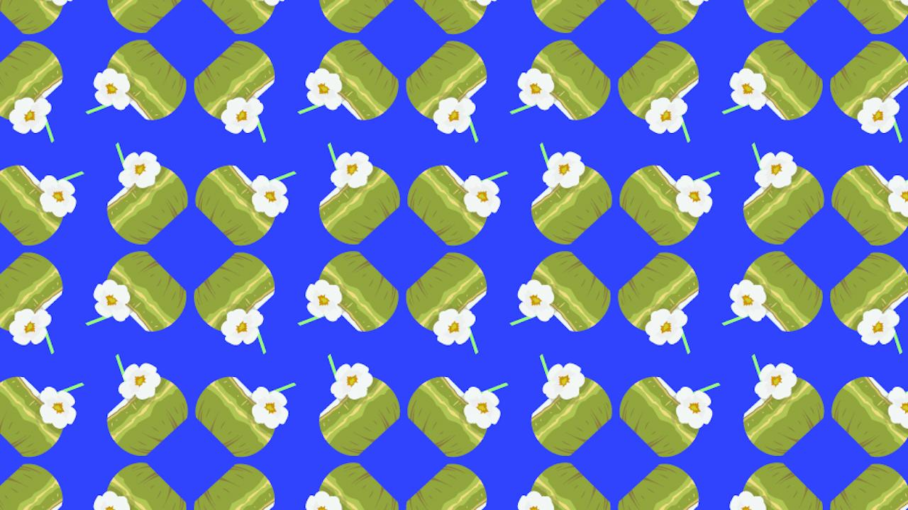 Encuentra dos cocos sin popote, ilustración