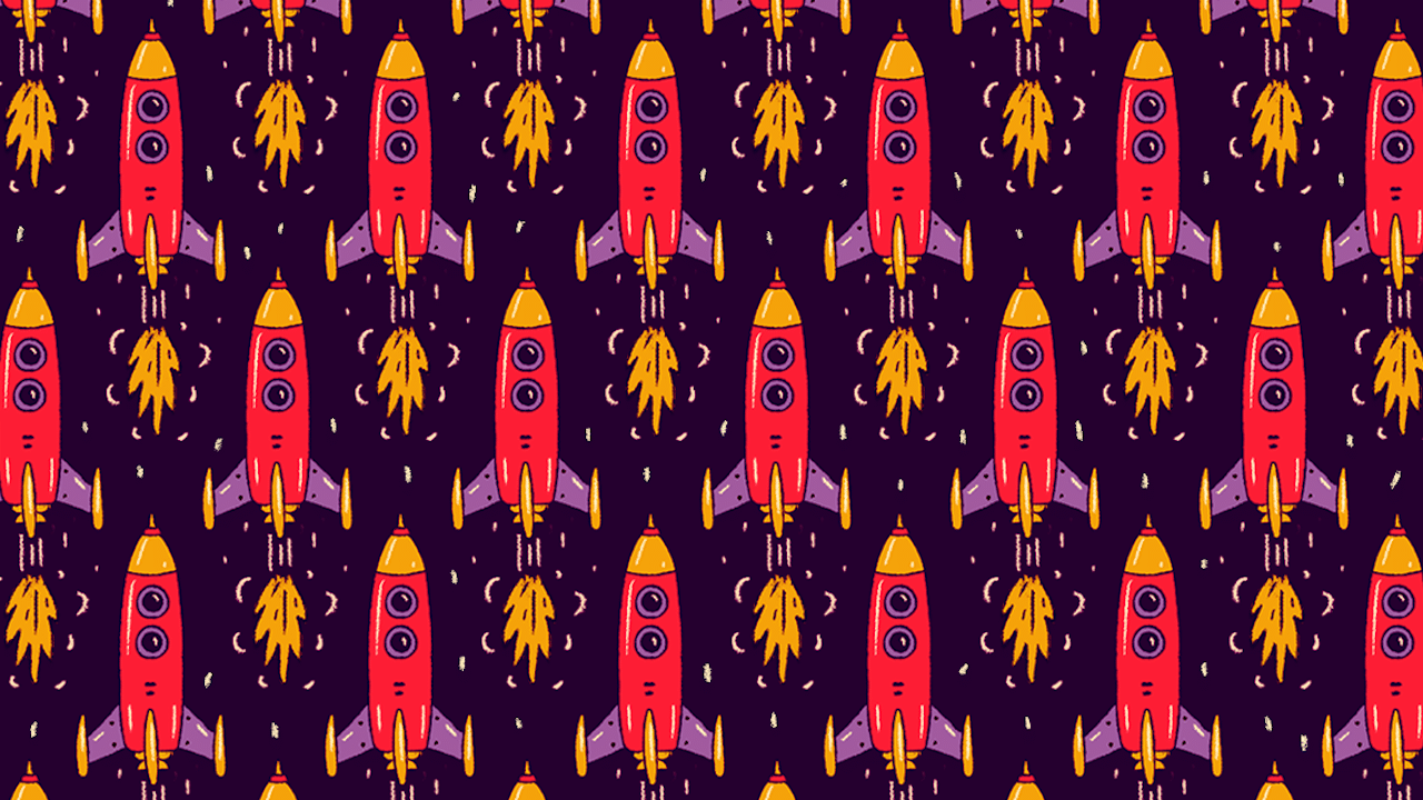 Encuentra los cohetes que van hacia abajo, ilustración