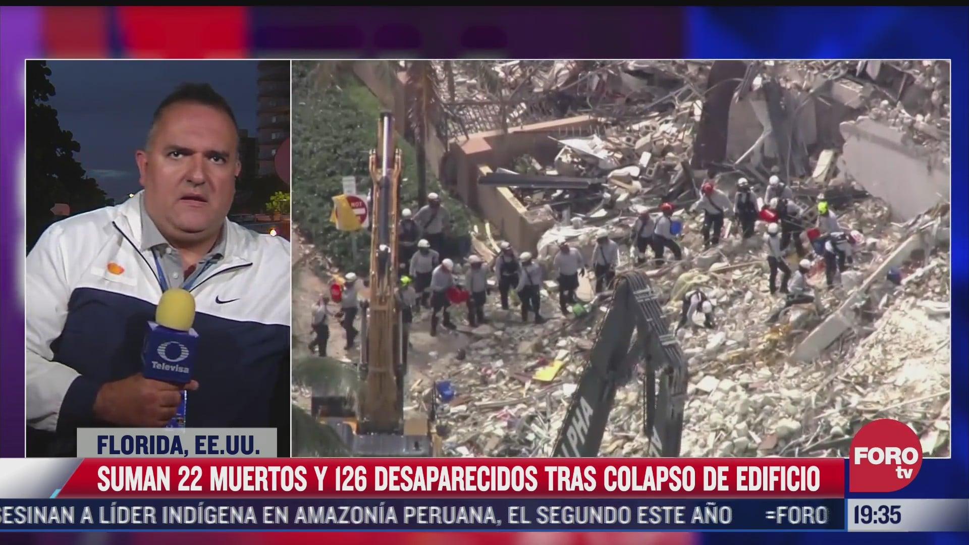 se eleva a 22 los muertos tras derrumbe en miami