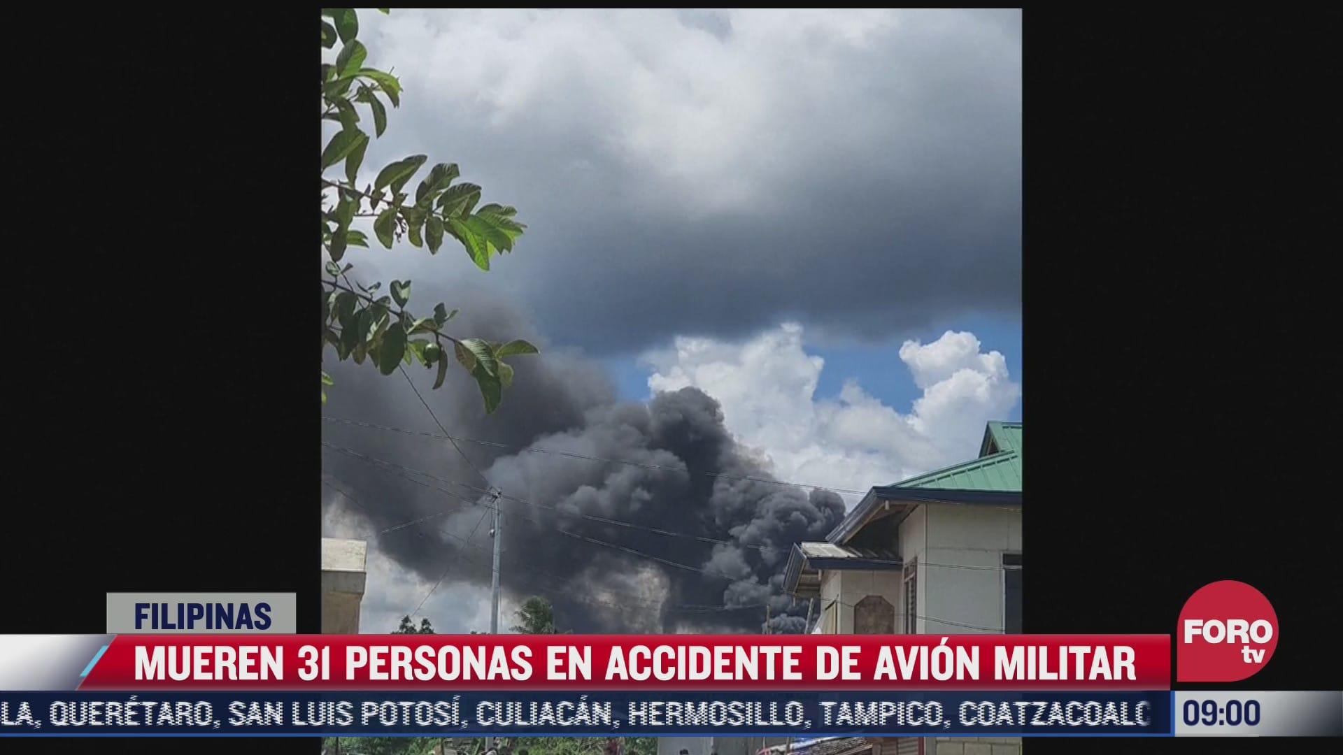 se estrella un avion militar en filipinas hay al menos 31 muertos