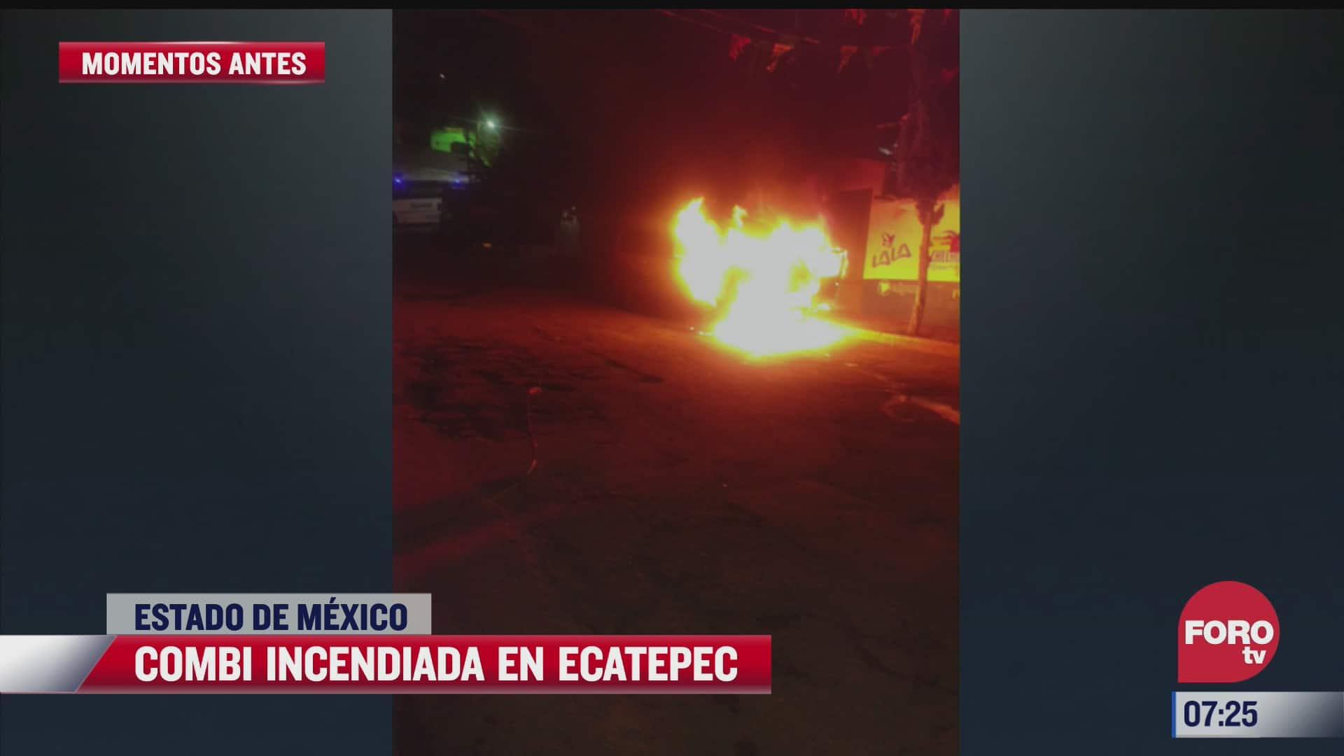 se incendia combi en ecatepec estado de mexico