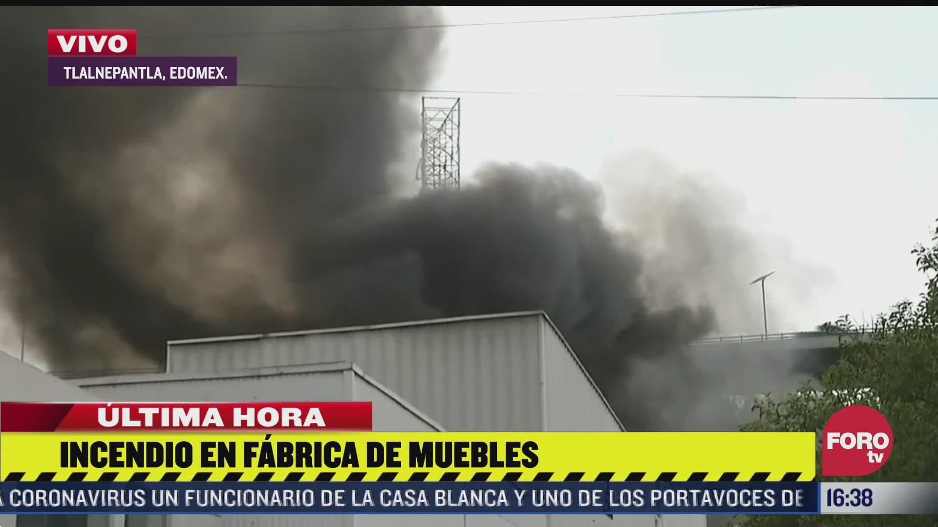 se registra incendio en fabrica de muebles en tlalnepantla en el estado de mexico