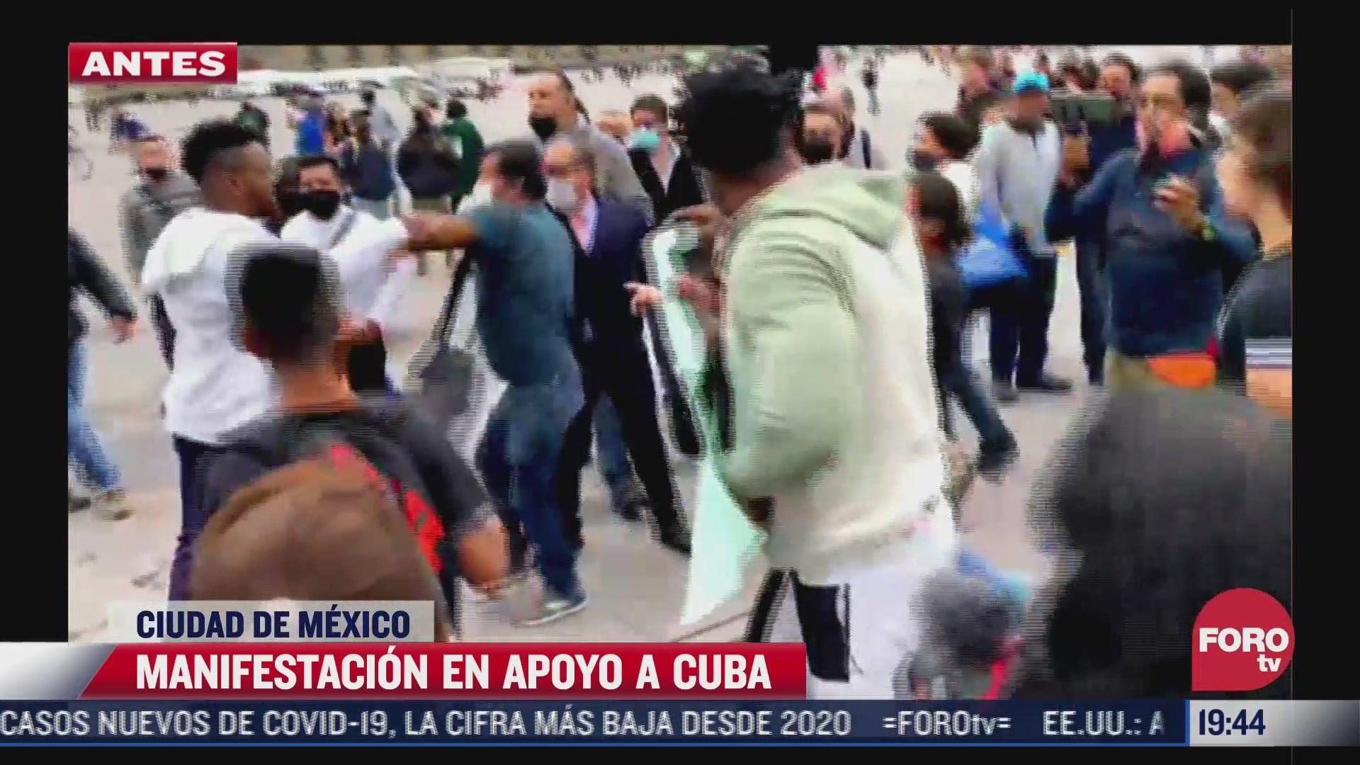 se registra pelea durante protesta de cubanos en el zocalo de cdmx