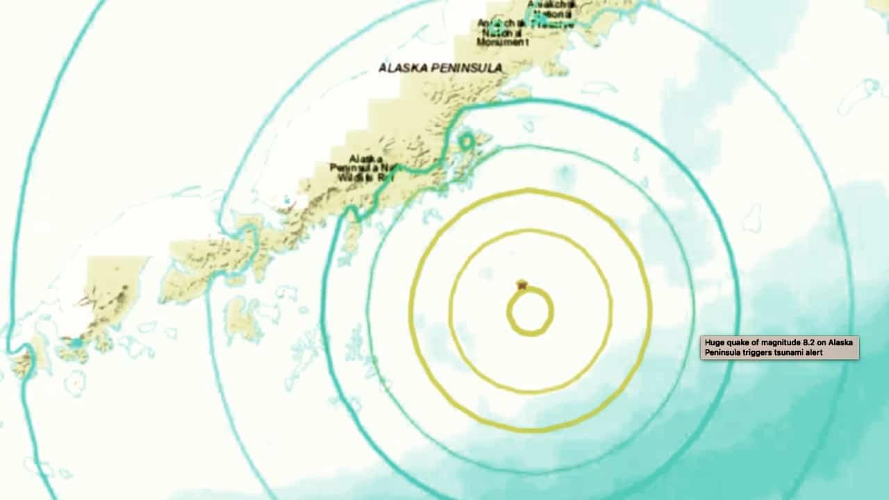 Sismo de magnitud 8,2 frente a las costas de la península de Alaska