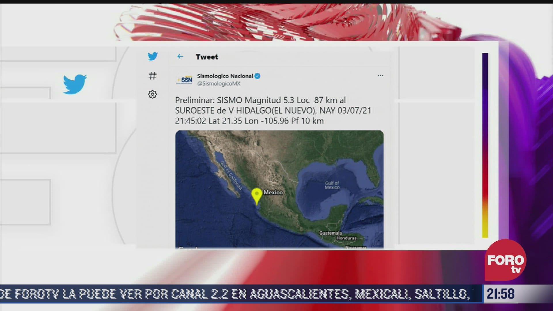 sismo de magnitud preliminar 5 3 en nayarit