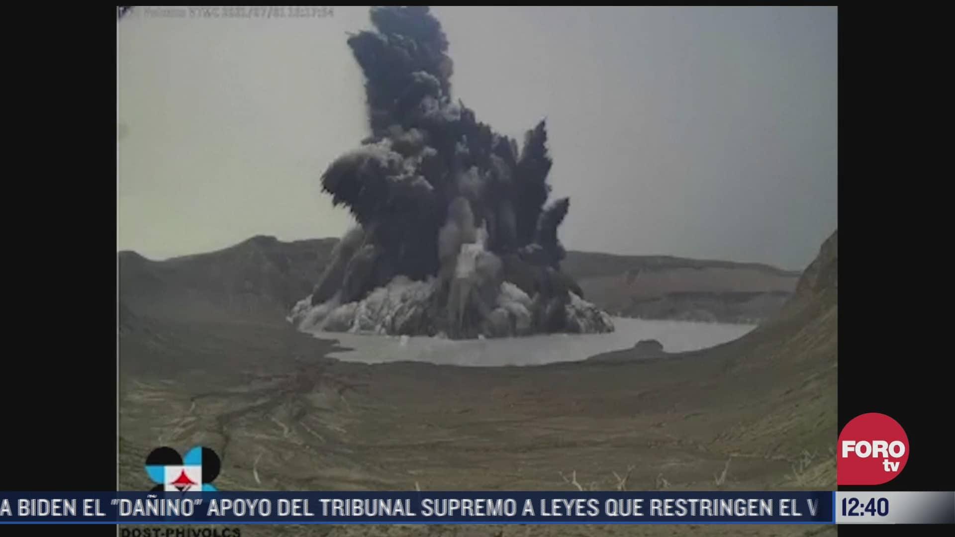 suben alerta por actividad del volcan taal en filipinas