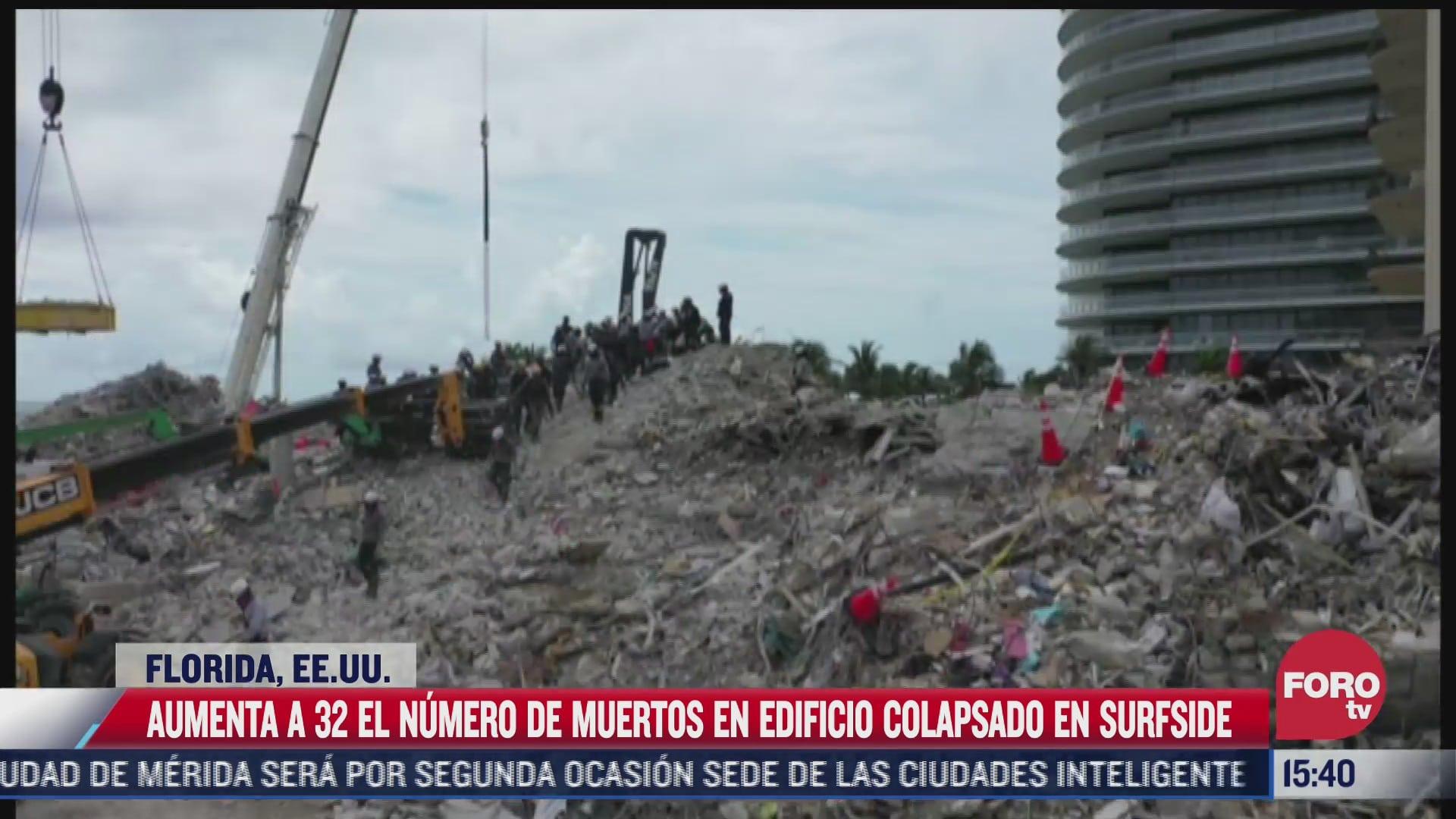 suman 32 muertos en edificio colapsado en surfside miami