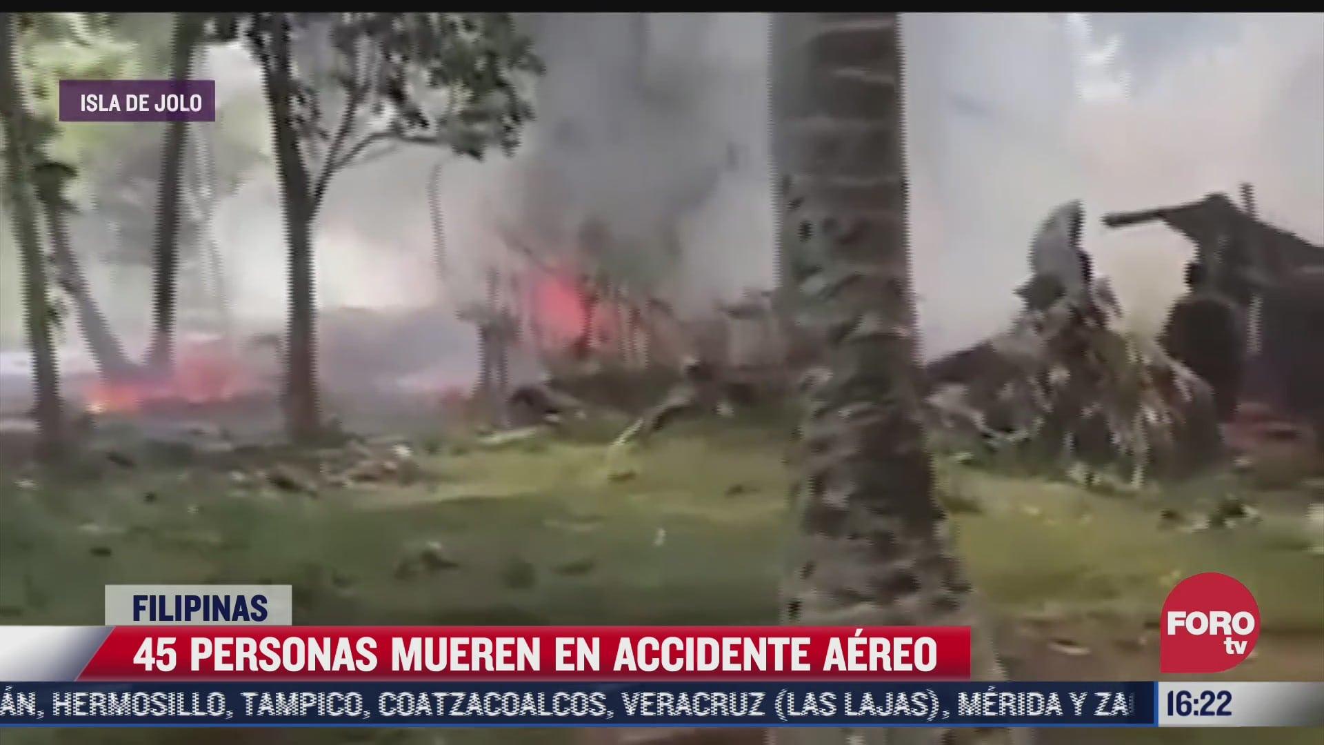 suman 45 muertos por caida de avion en filipinas
