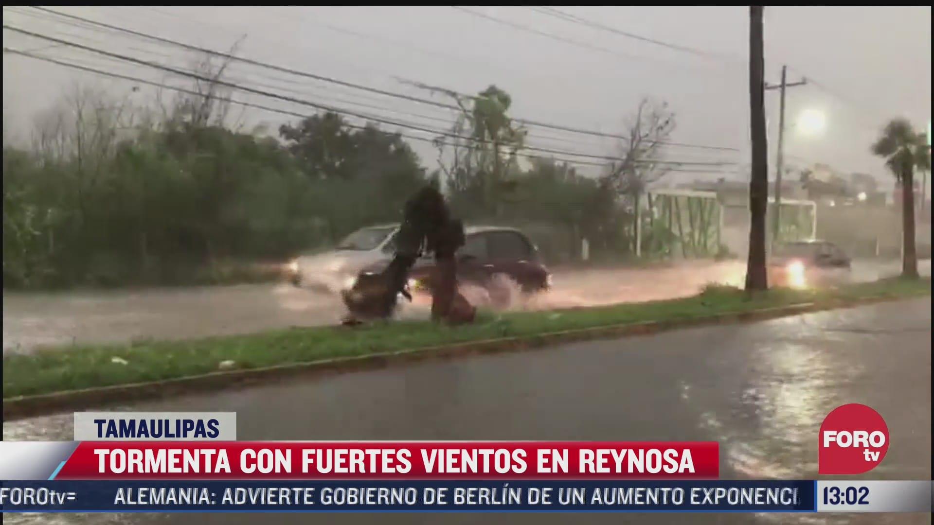 tormenta con fuertes vientos provoca encharcamientos en reynosa tamaulipas