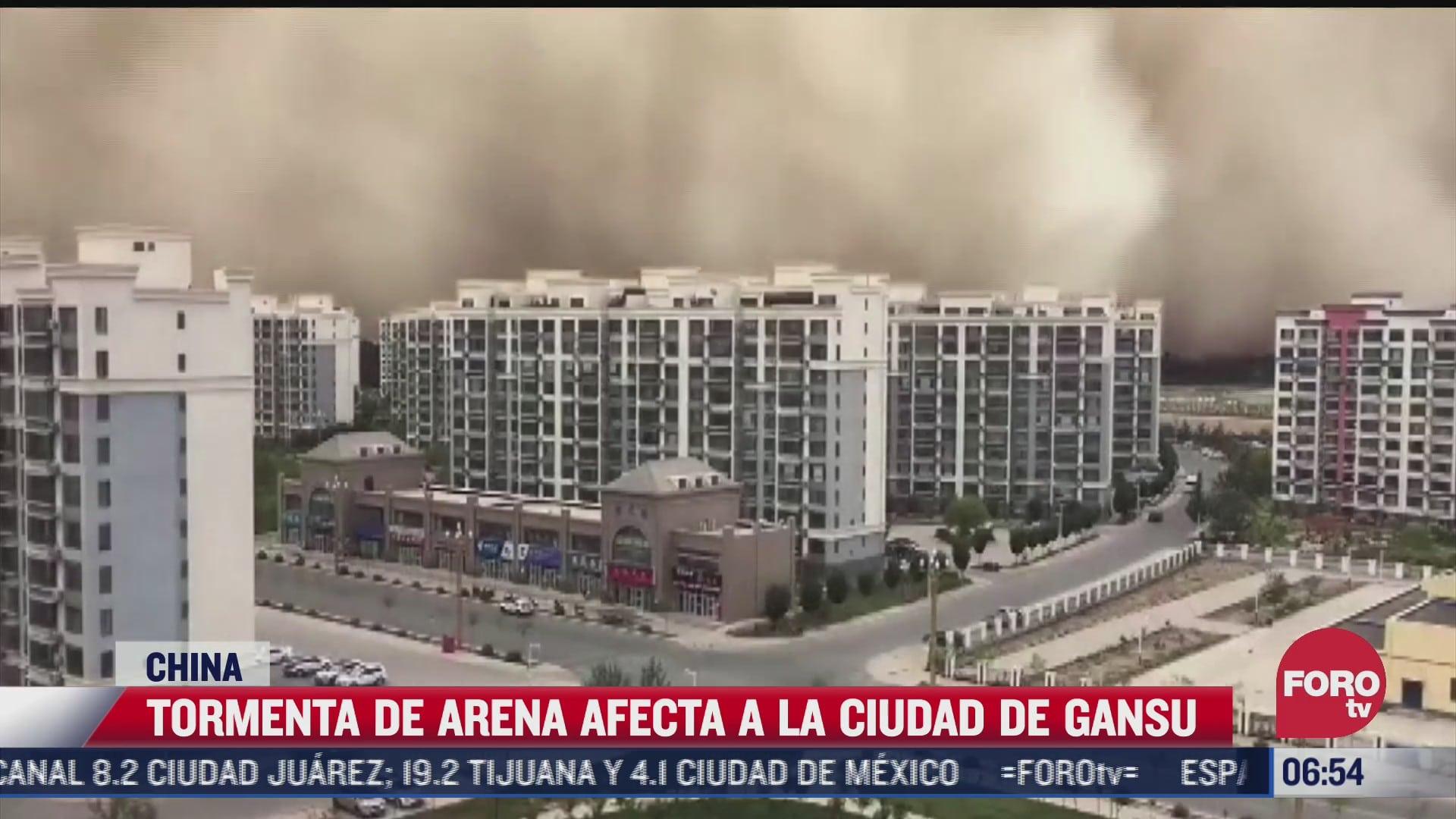 tormenta de arena afecta a la ciudad de gansu china