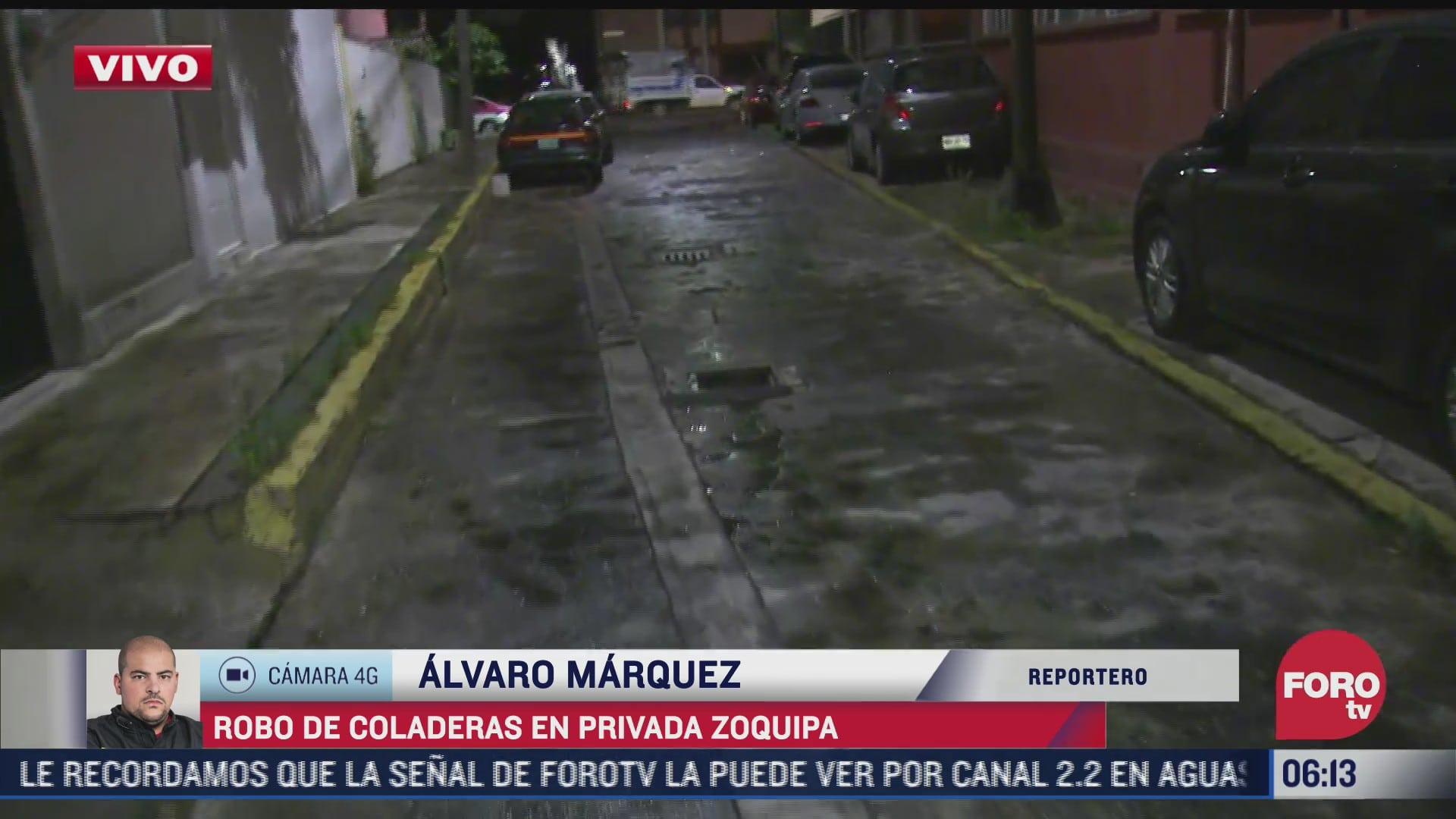 vecinos denuncian robo de coladeras en la calle privada zoquipa cdmx