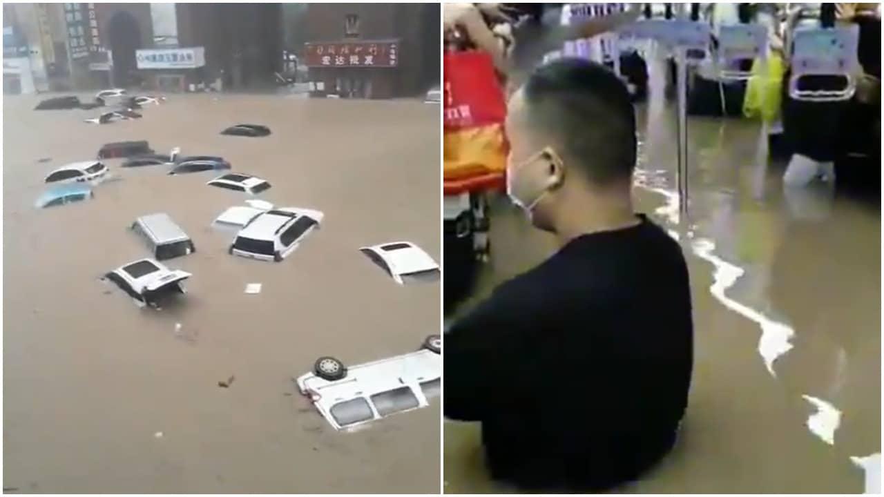 Videos de inundaciones y lluvias en China se vuelven virales en redes sociales