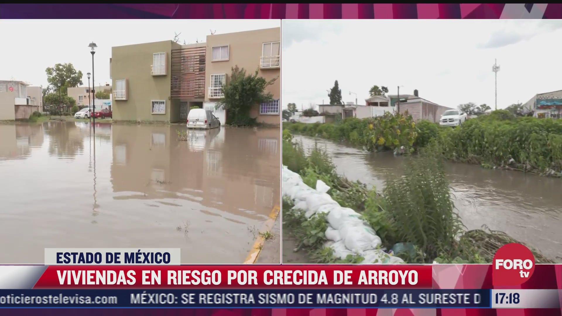 viviendas en riesgo por crecida de arroyo en zumpango reporta proteccion civil