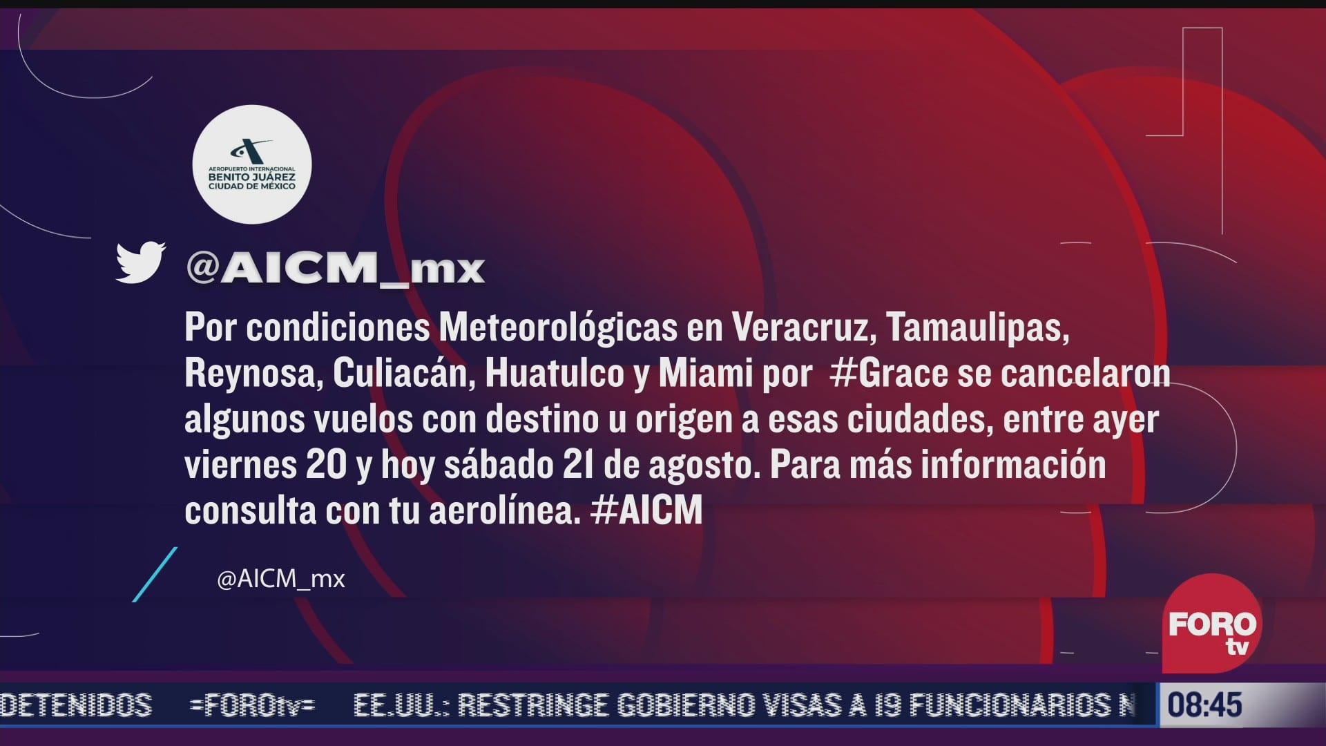 aeropuerto aicm cancela vuelos por huracan grace