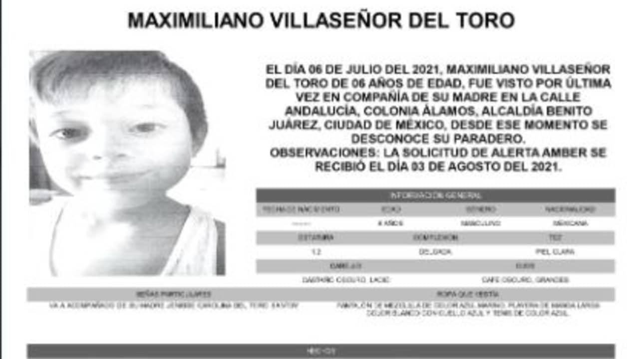 Activan Alerta Amber para localizar a Maximiliano Villaseñor del Toro