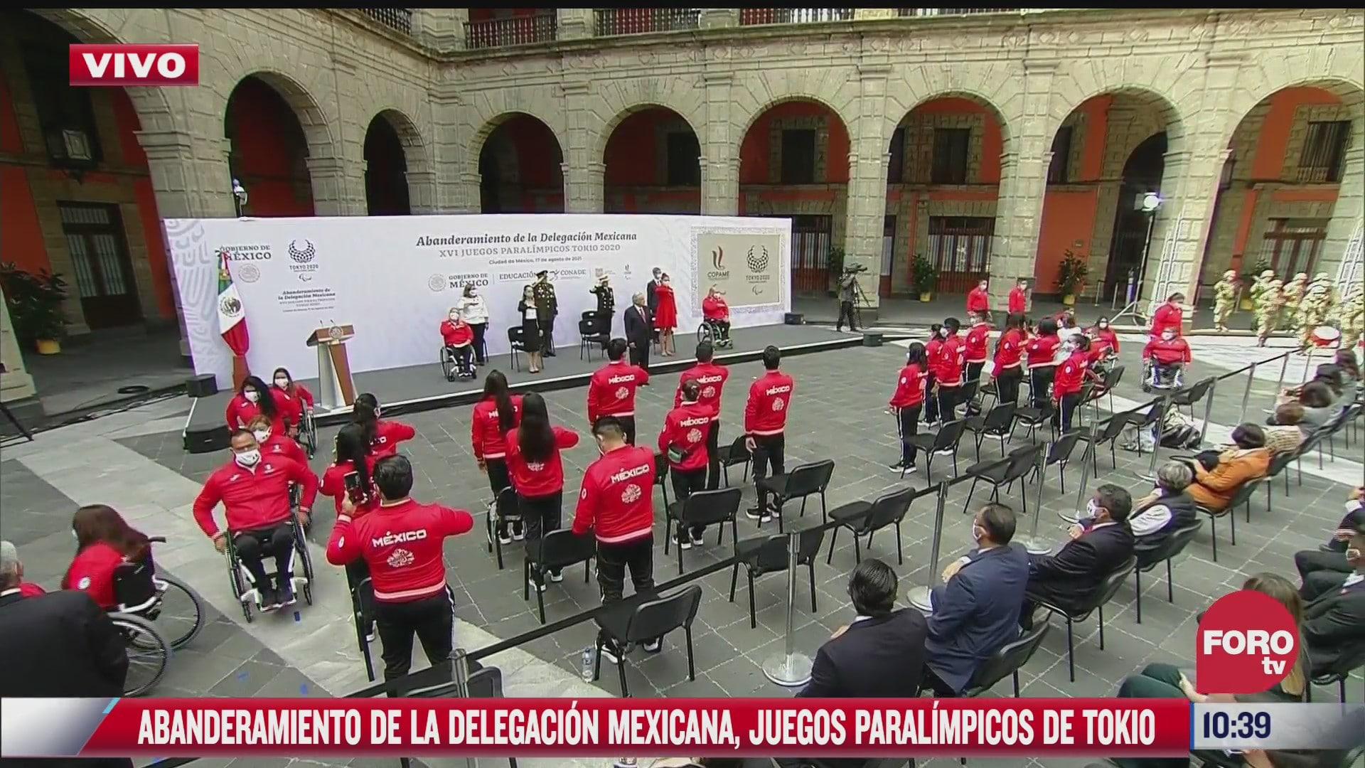amlo abandera a delegacion mexicana que participara en juegos paralimpicos de tokyo