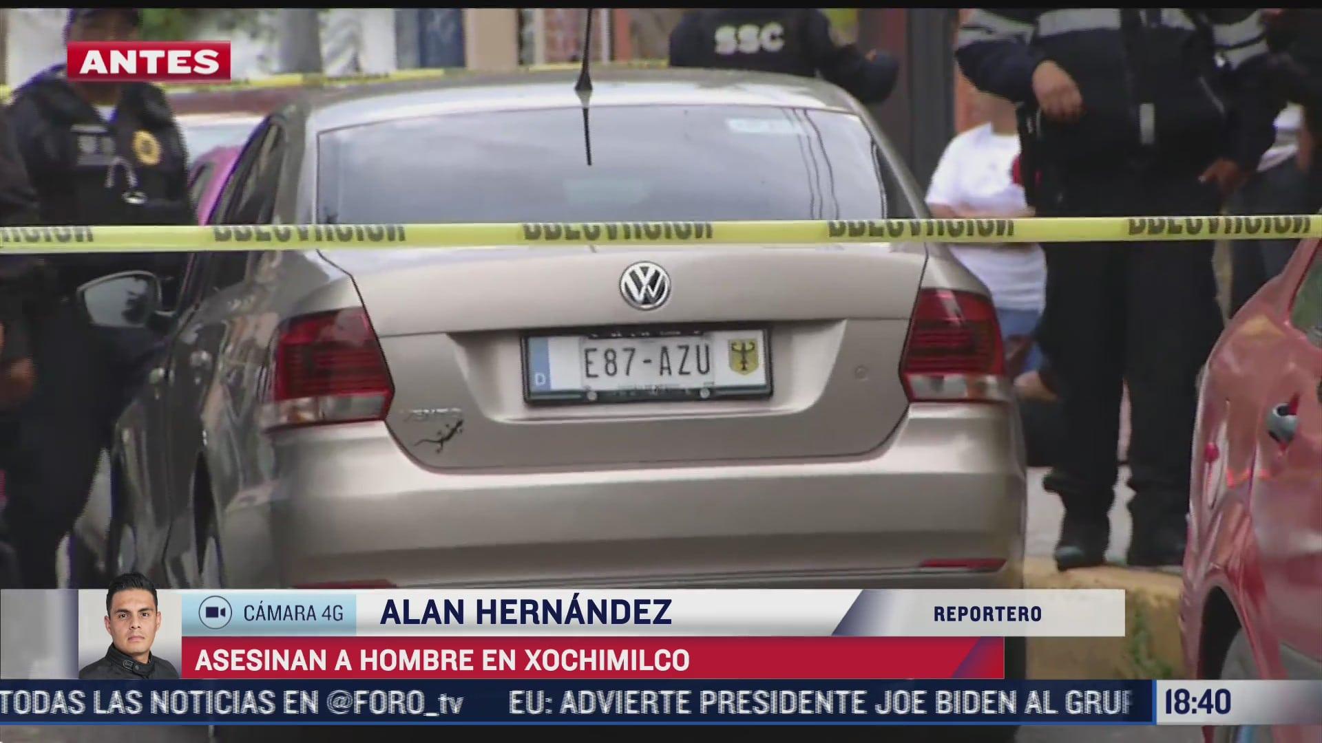 asesinan a balazos a hombre abordo de vehiculo en xochimilco