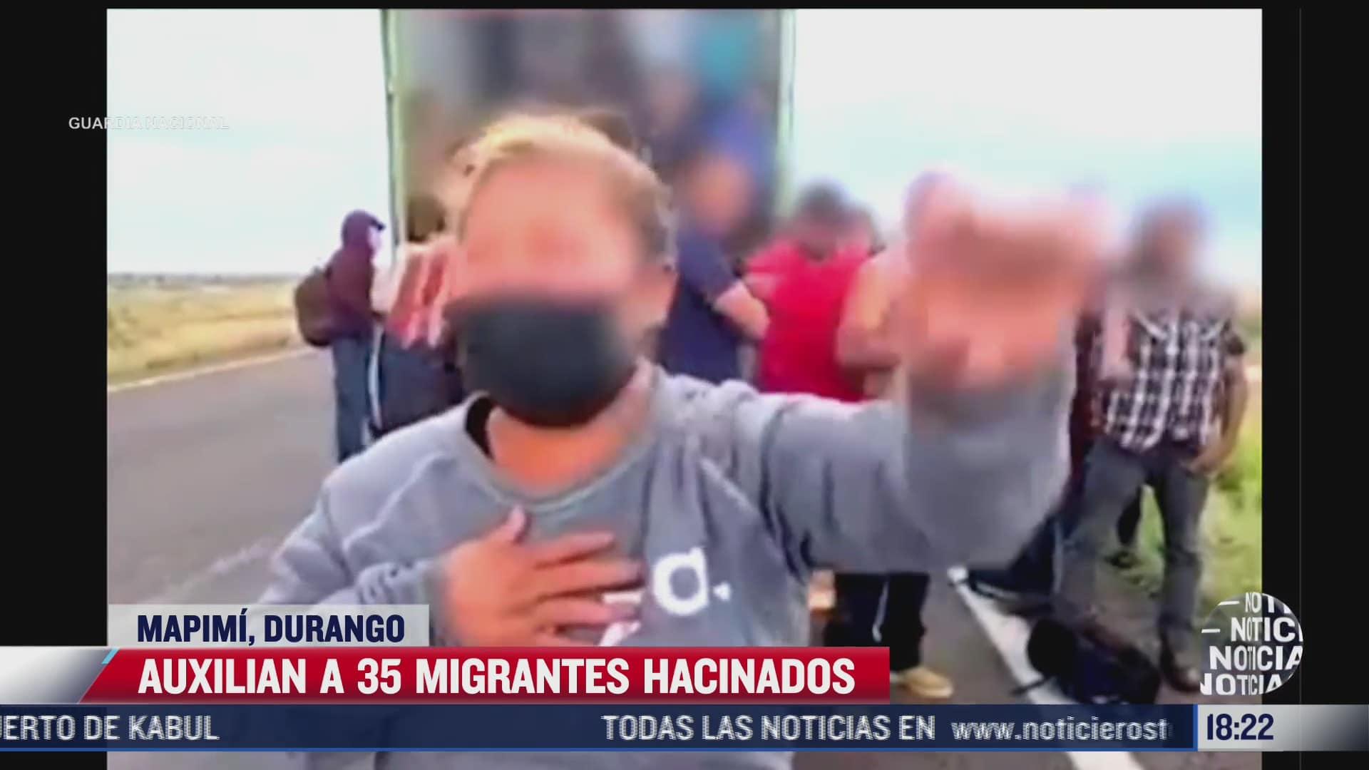 auxilian a 35 migrantes hacinados en mapimi durango
