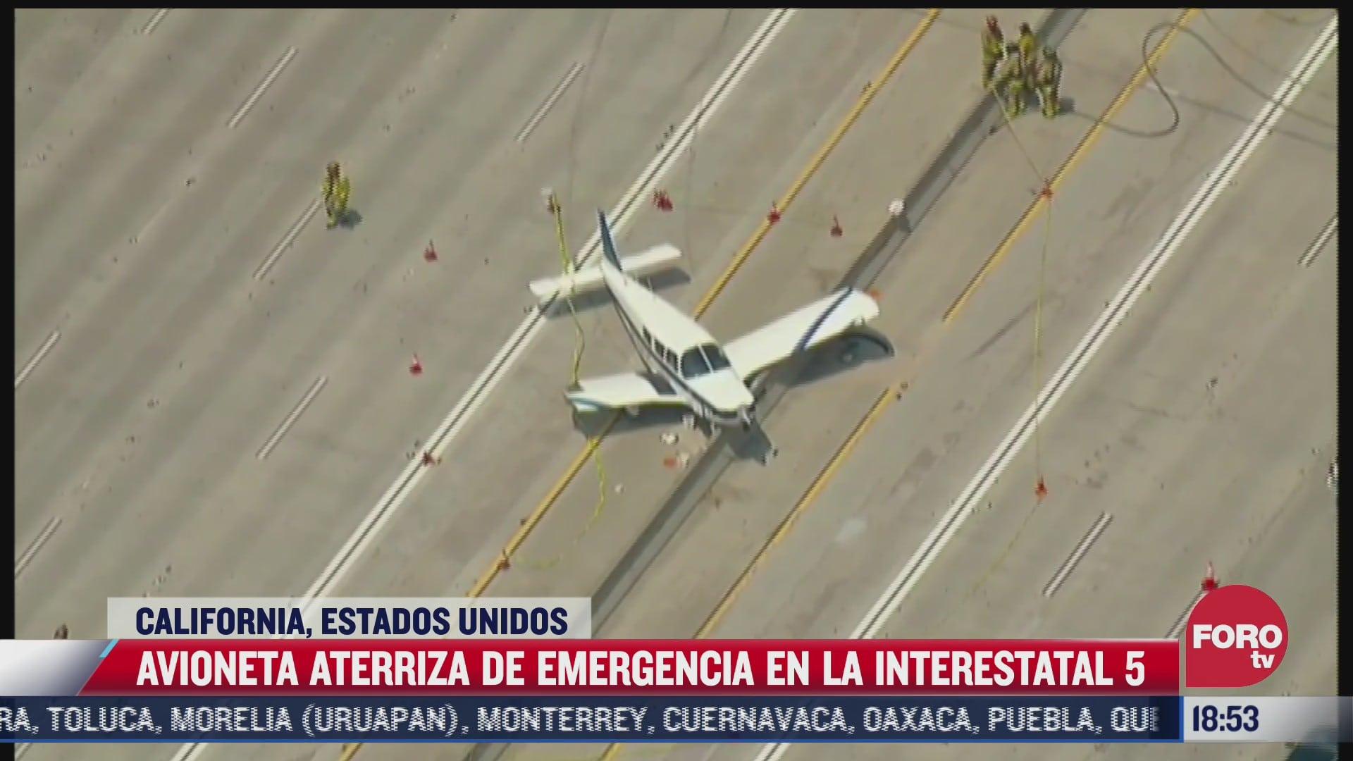 avioneta aterriza de emergencia en carretera de california