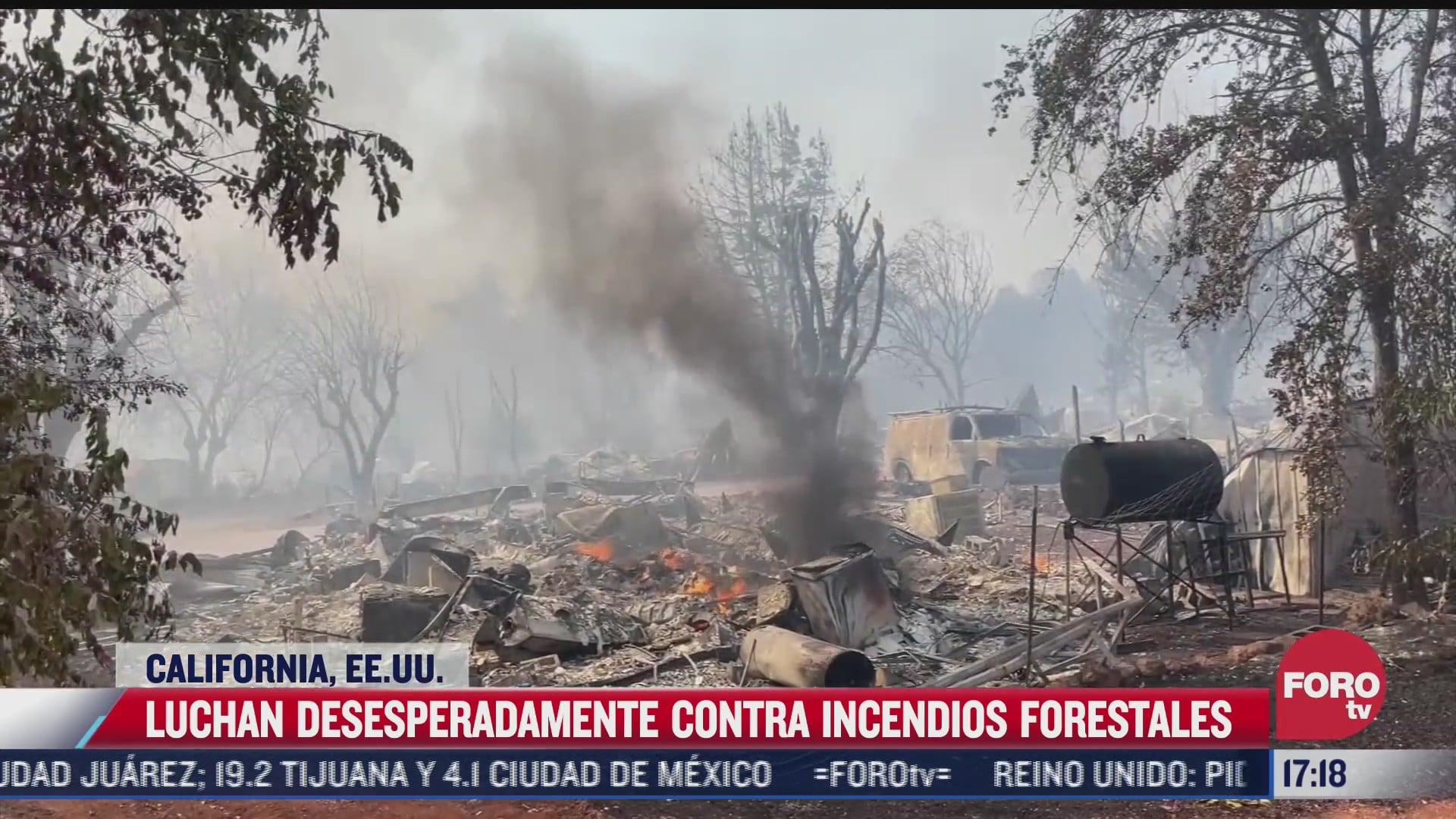 bomberos luchan contra incendios forestales en california