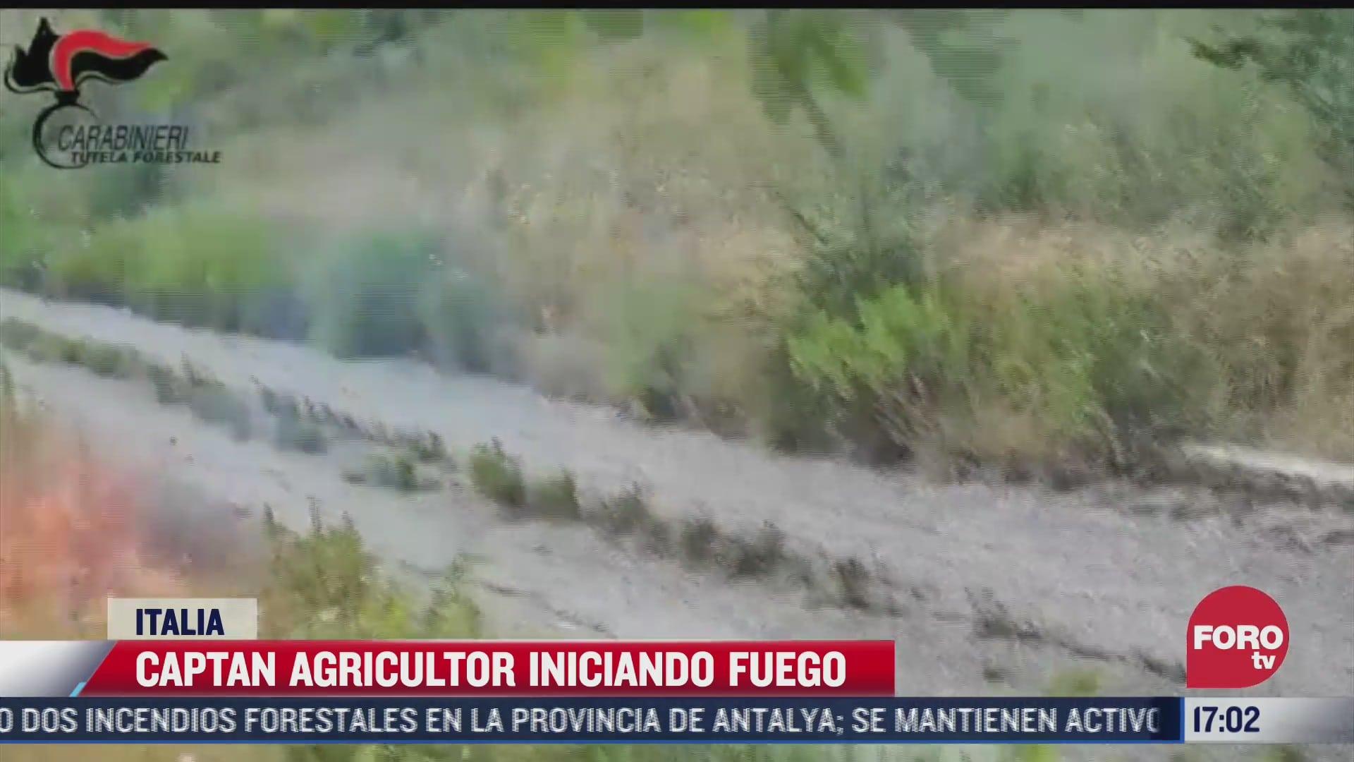 captan agricultor iniciando fuego en italia