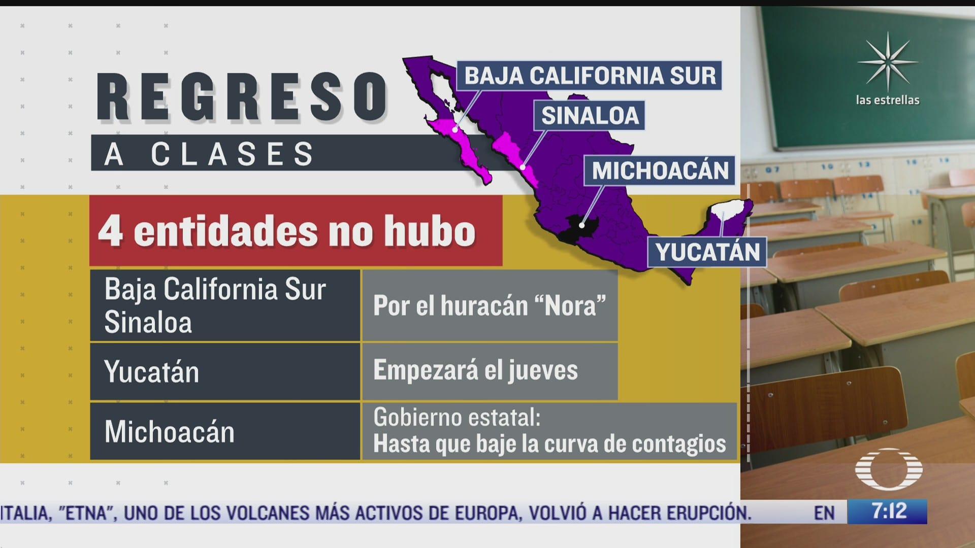 como es el mapa del regreso a clases presenciales en mexico