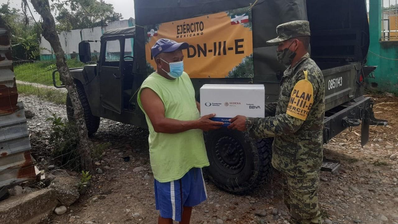 despensas, huracán Grace, Veracruz, damnificados, Televisa