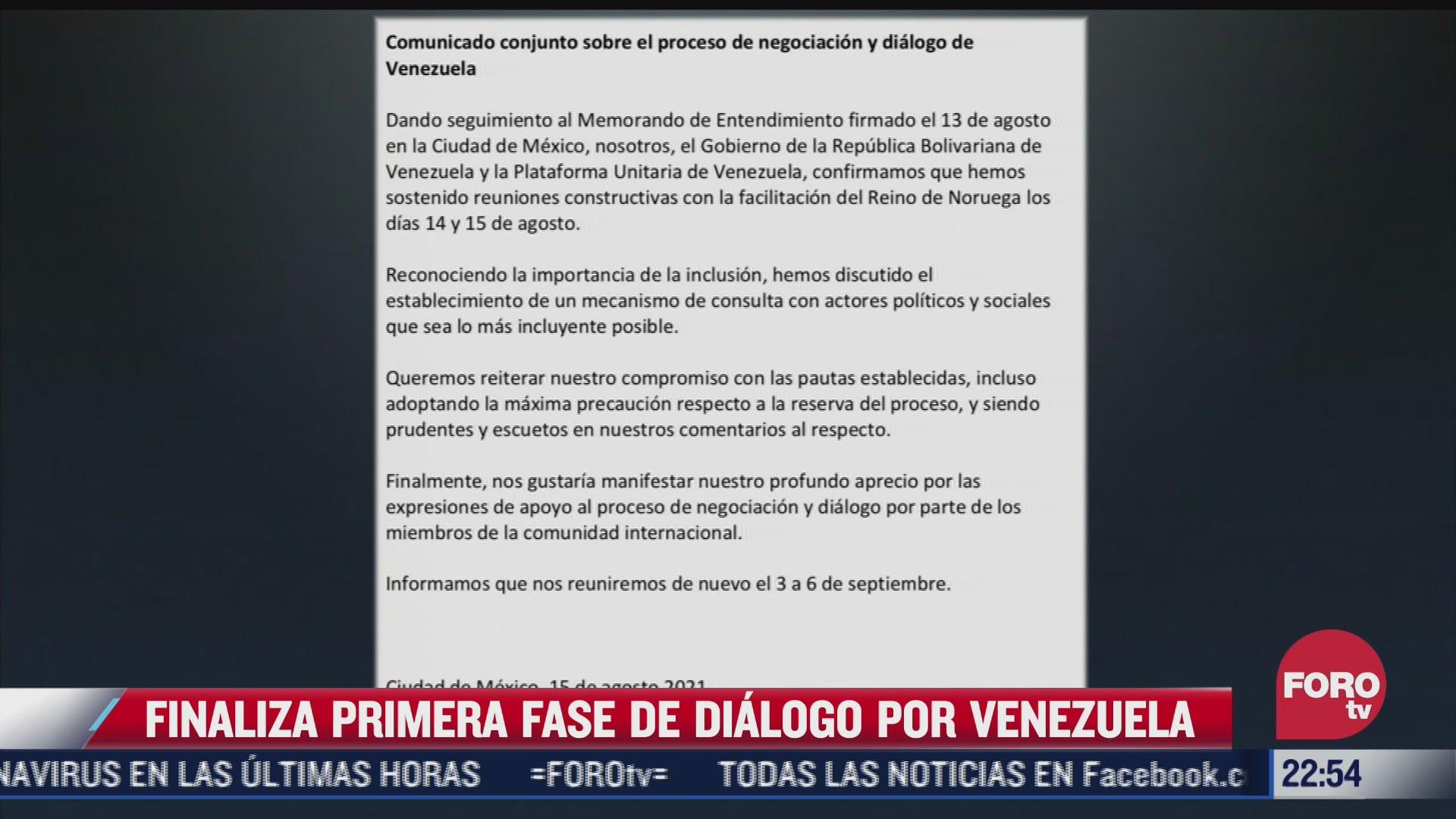 finaliza primera fase de dialogo por venezuela