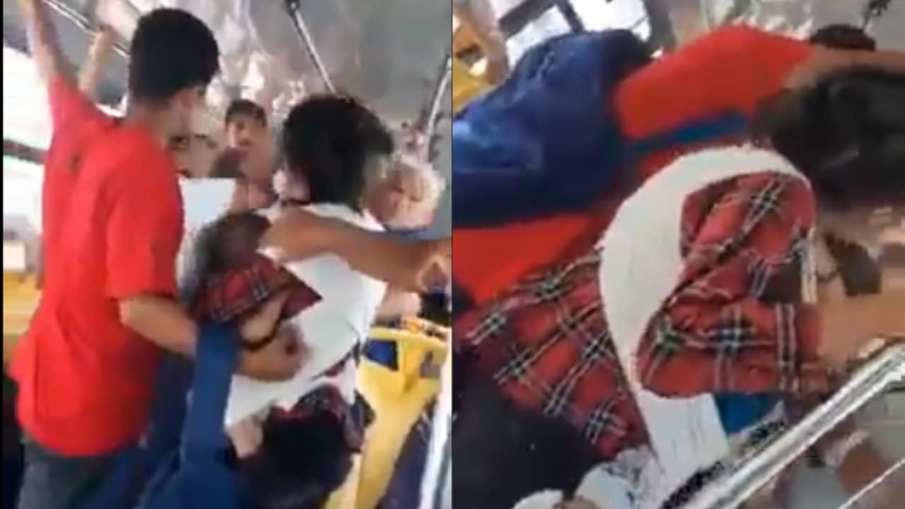 Madre con bebé pelea contra una mujer mayor por asiento