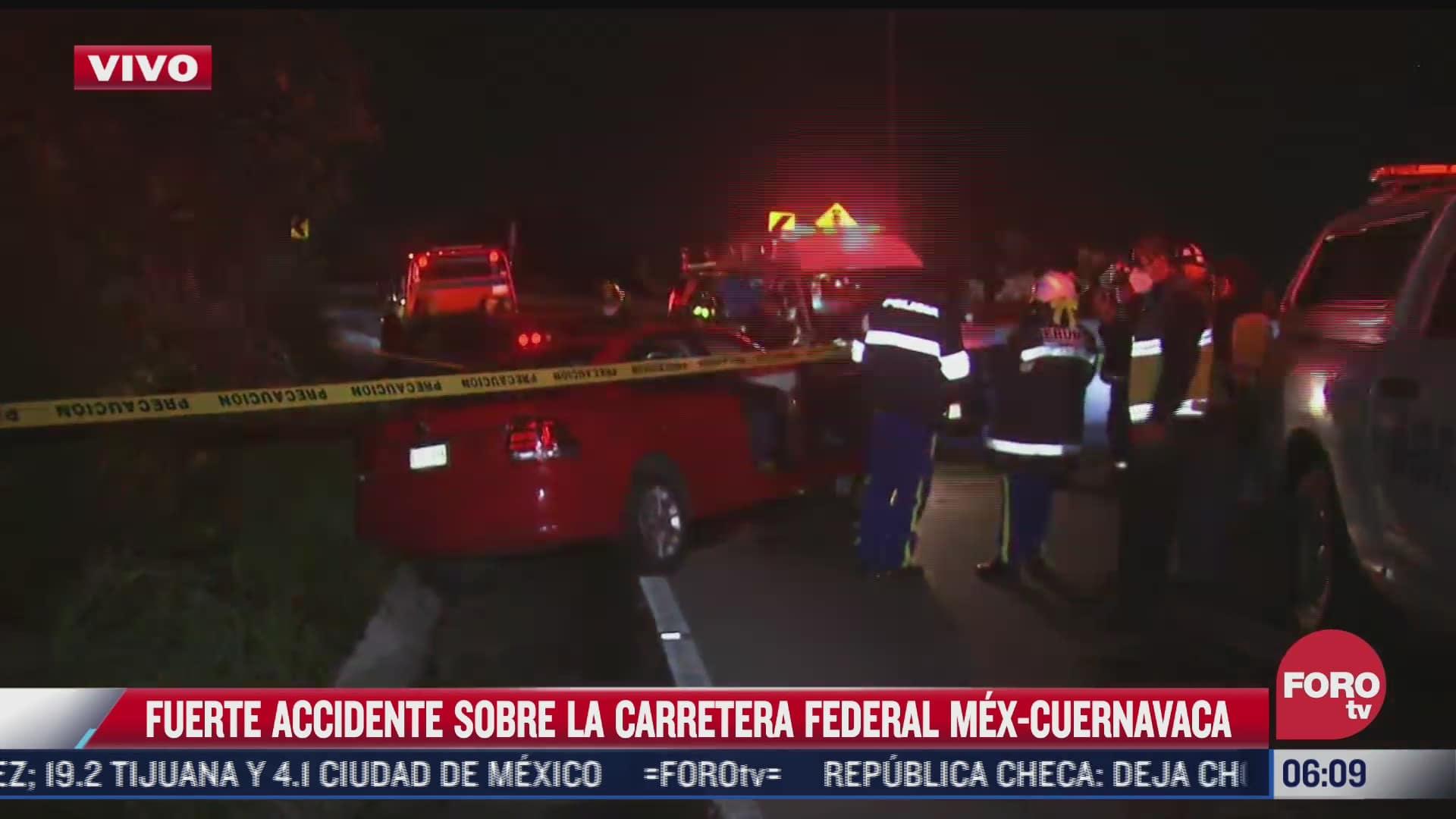 fuerte accidente sobre carretera federal mexico cuernavaca deja un muerto