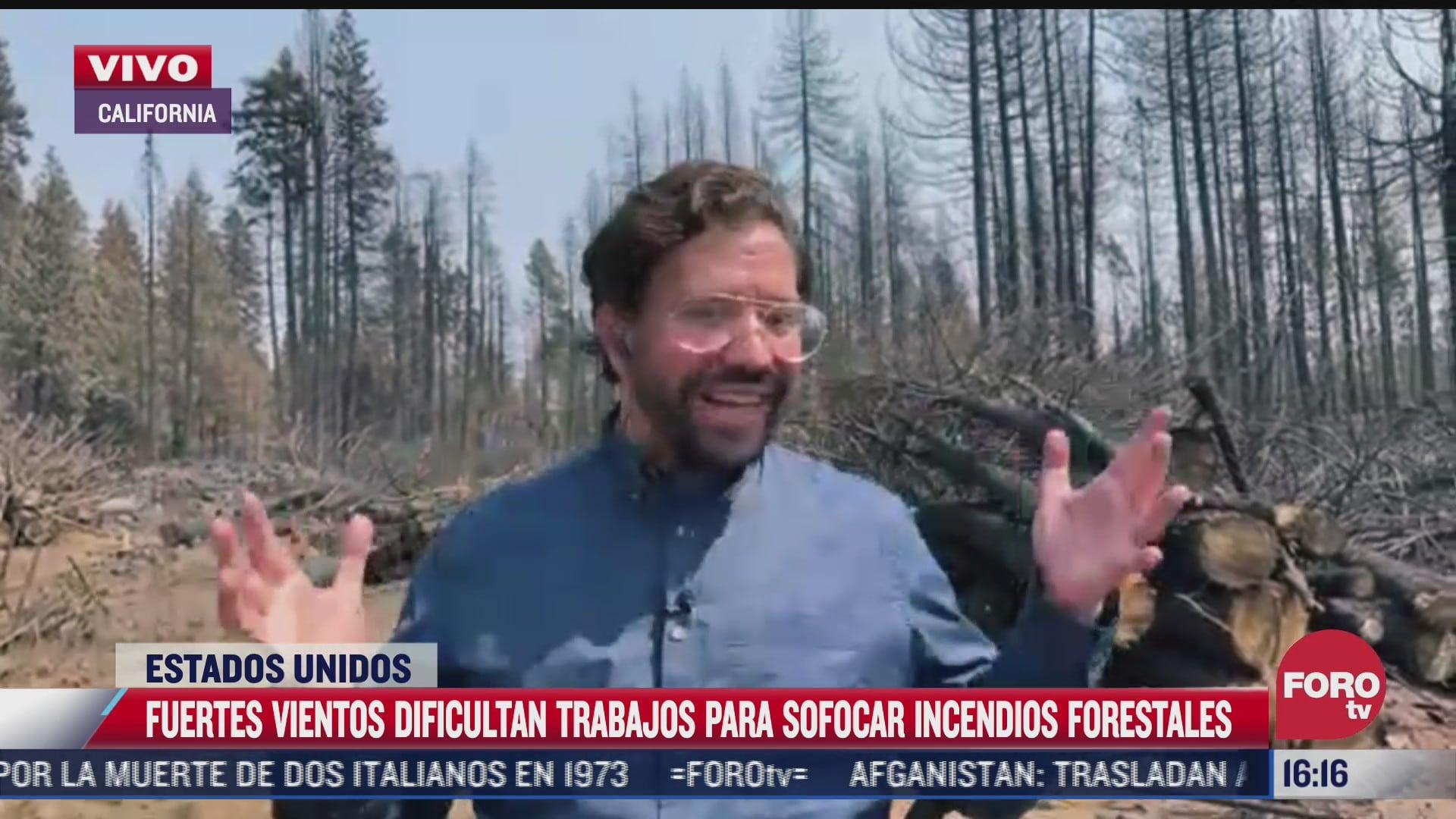 fuertes vientos dificultan labores para sofocar incendios en california