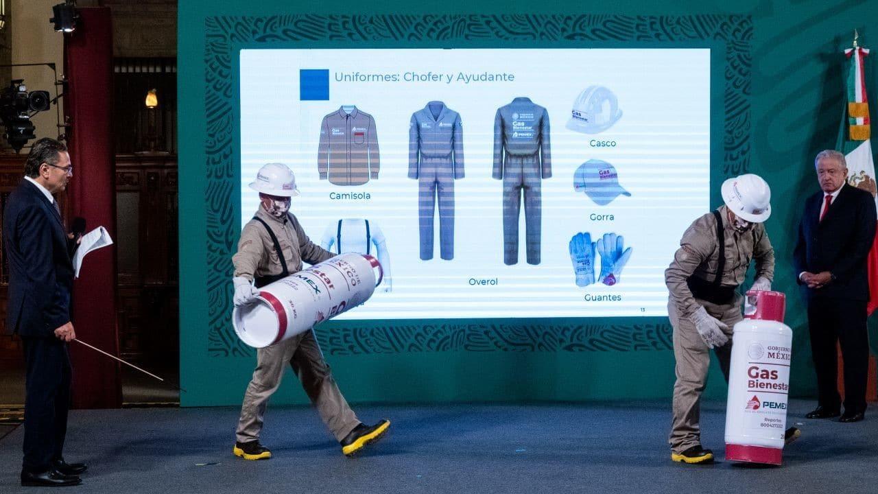 Gas Bienestar, uniformes, cilindros, gas LP, CDMX