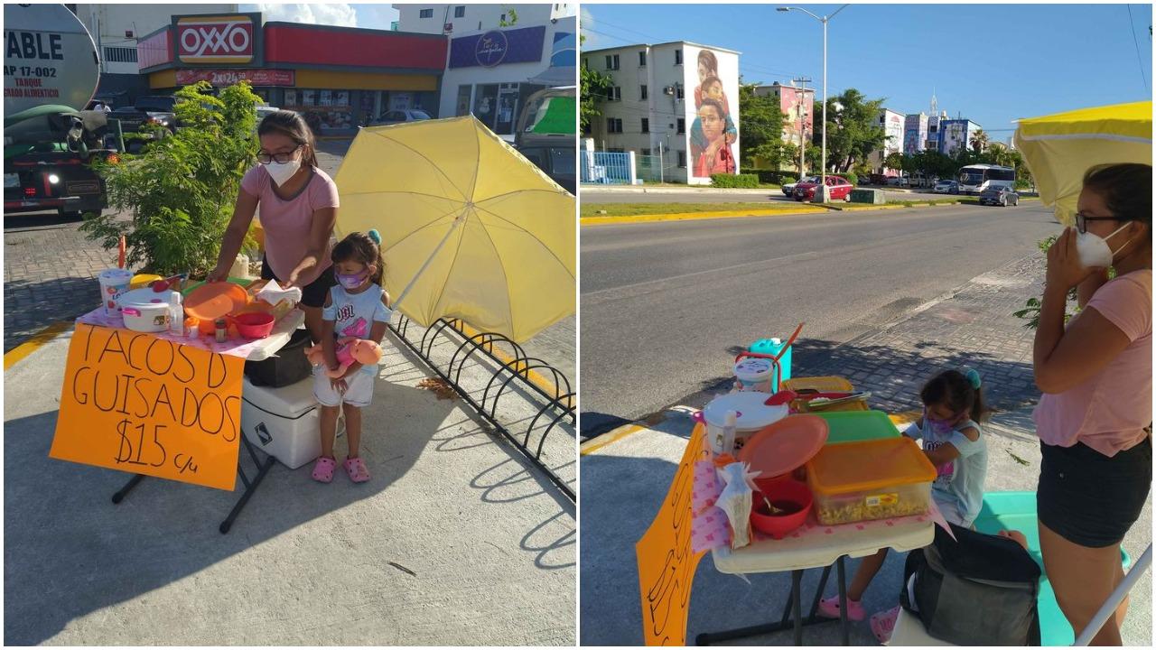 Joven vende tacos de guisado en Quintana Roo para pagar su universidad