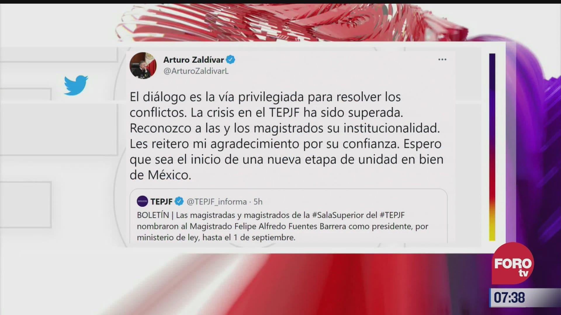 la crisis en el tepjf ha sido superada dice arturo zaldivar