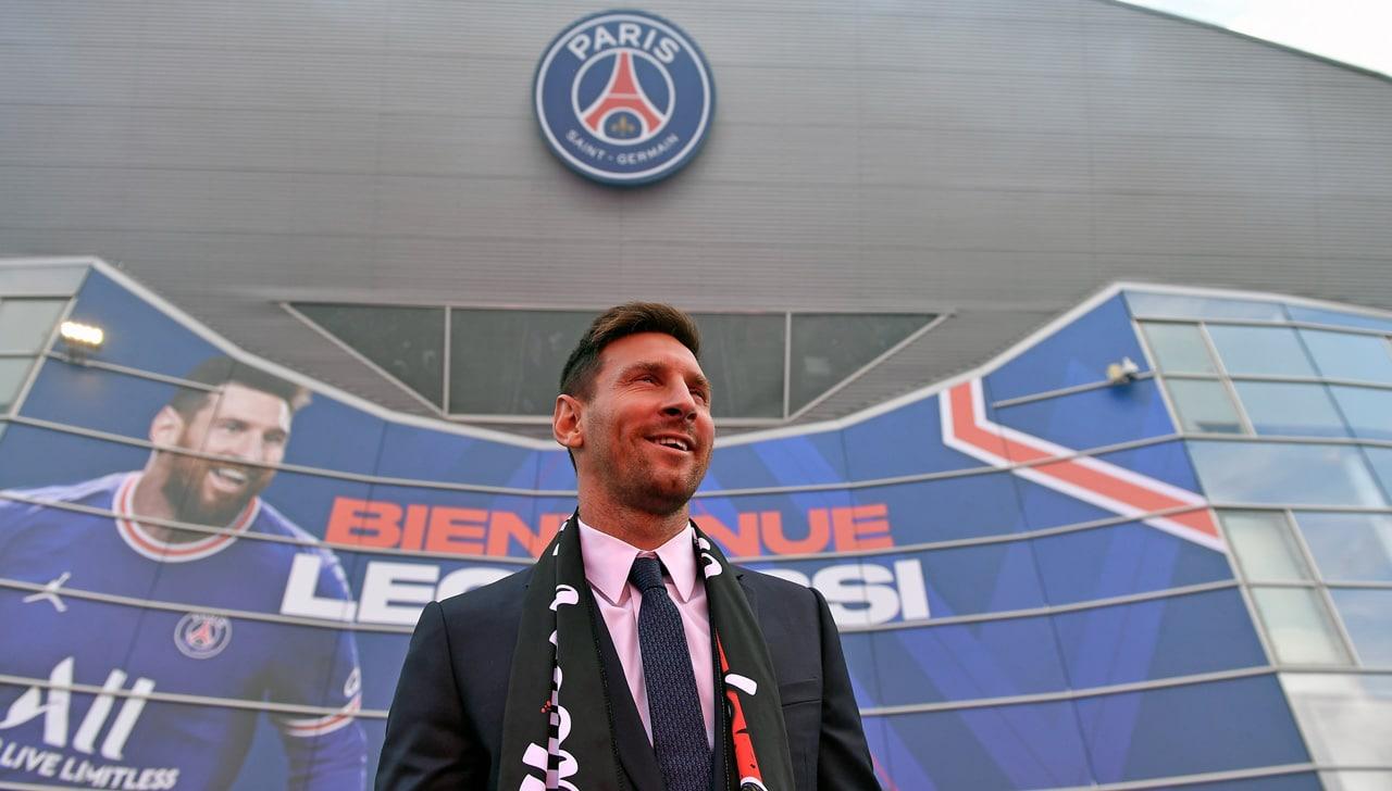 Lionel Messi durante su presentación oficial con el PSG