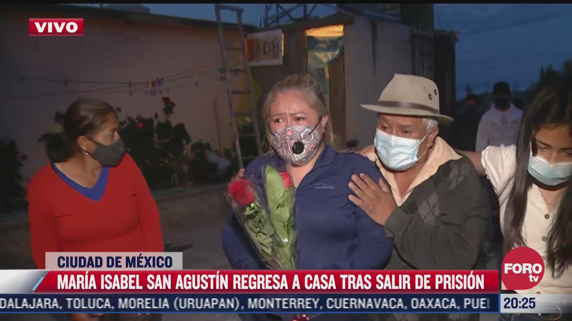 maria isabel san agustin regresa a casa luego de estar 10 anos en prision
