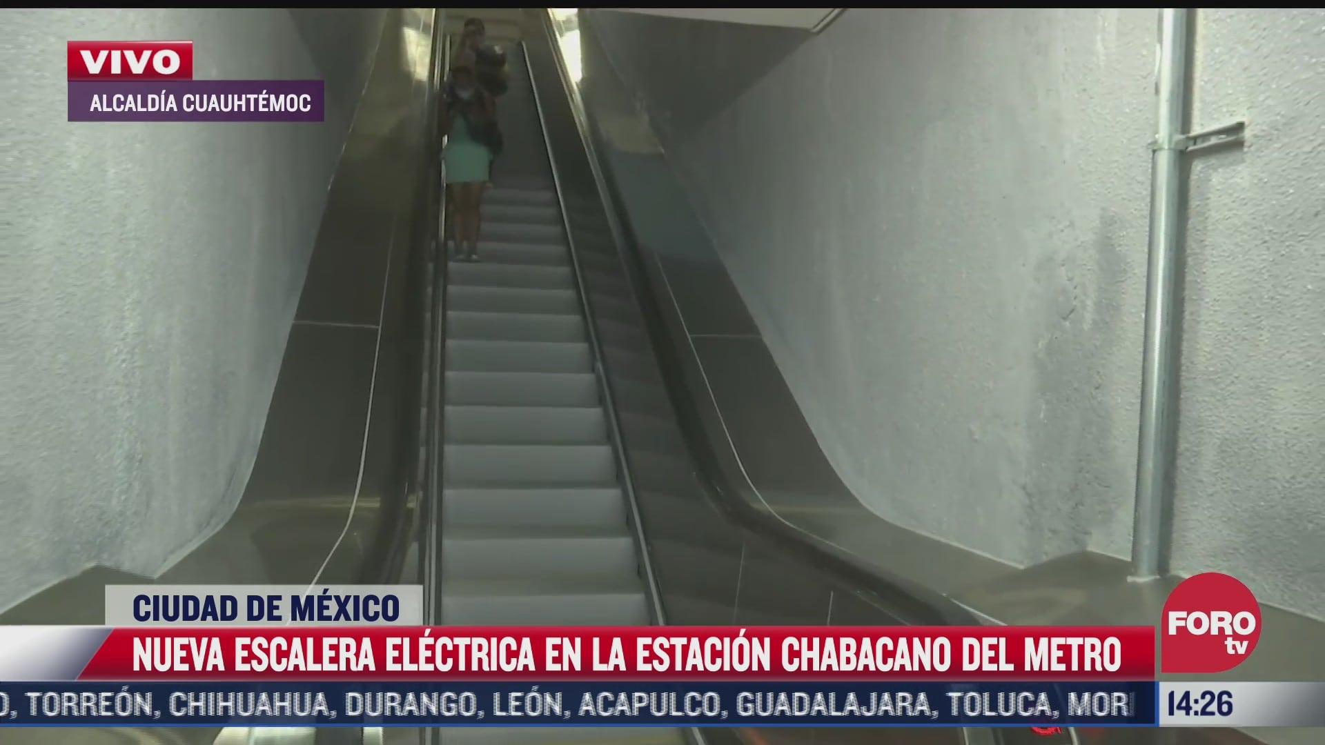 En la estación Chabacano de la Línea 8 del Metro de la CDMX se cambió una escalera eléctrica