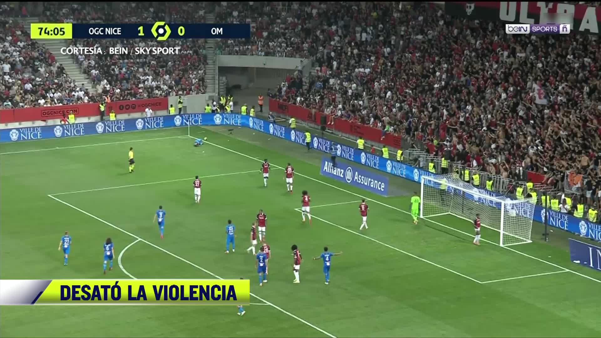 pelea campal entre jugadores y aficionados en futbol frances